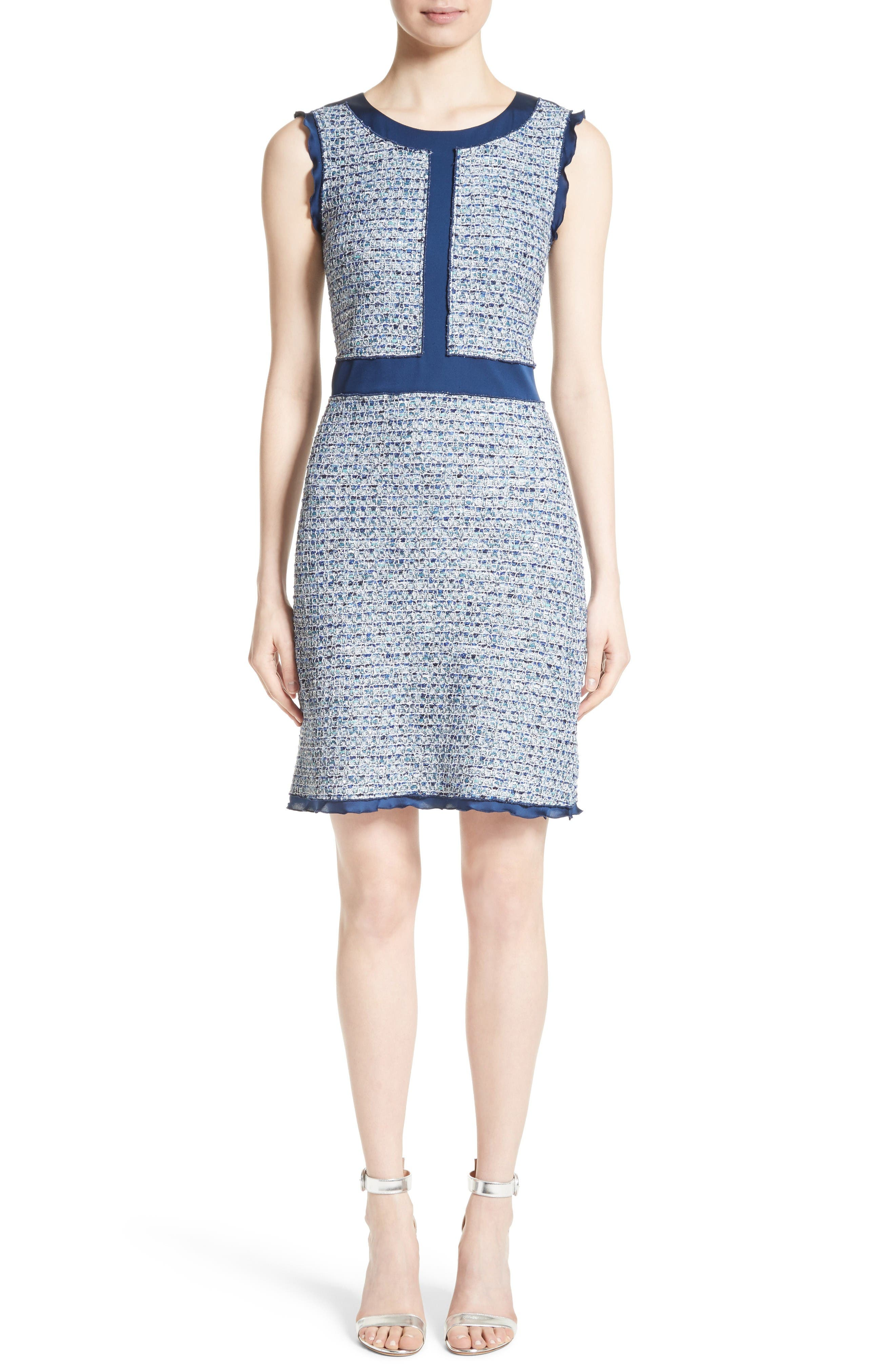 Kiara Tweed A-Line Dress,                         Main,                         color, Blue Multi
