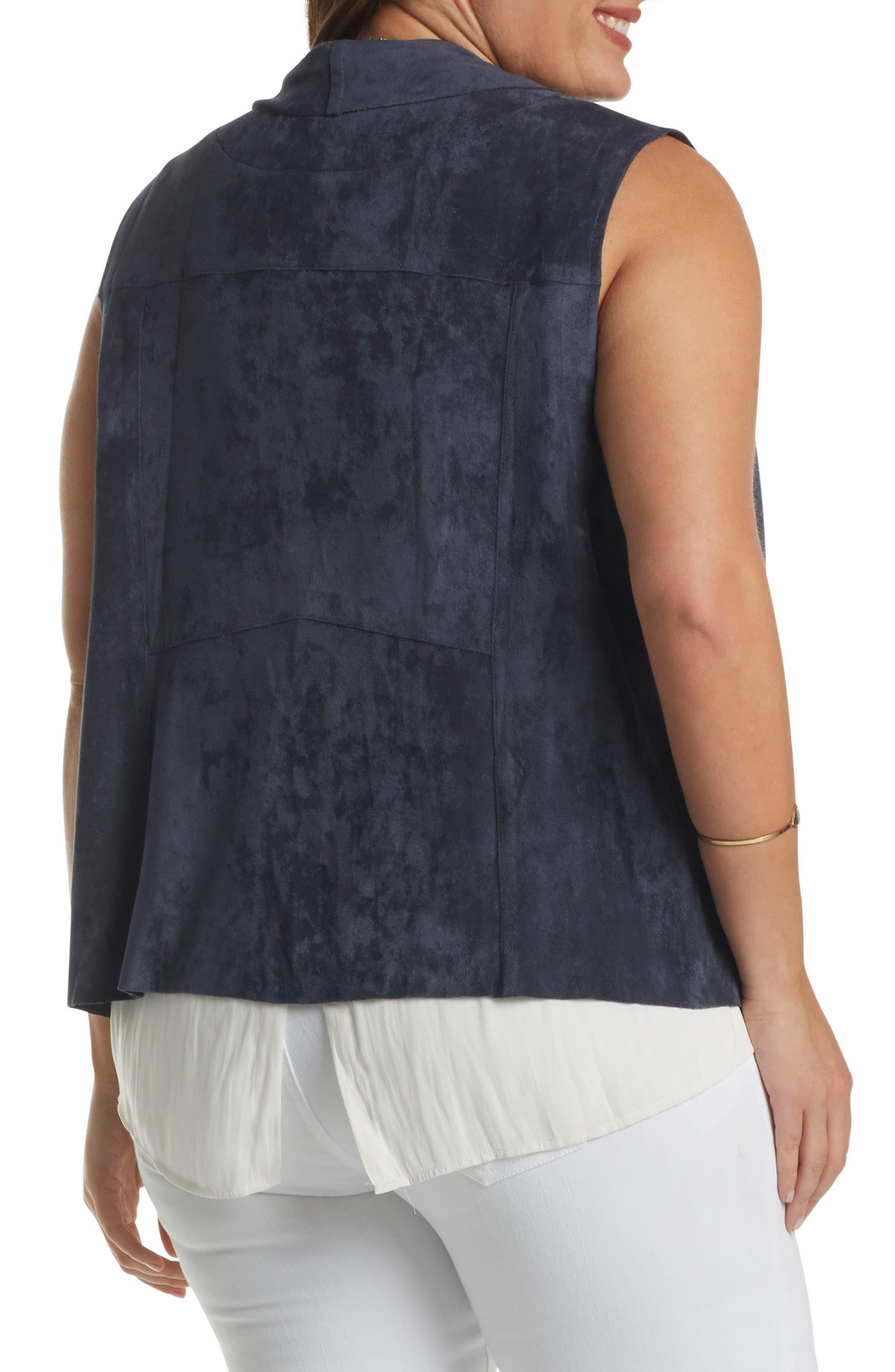 Paz Faux Suede Drape Front Vest,                             Alternate thumbnail 2, color,                             Steel Blue