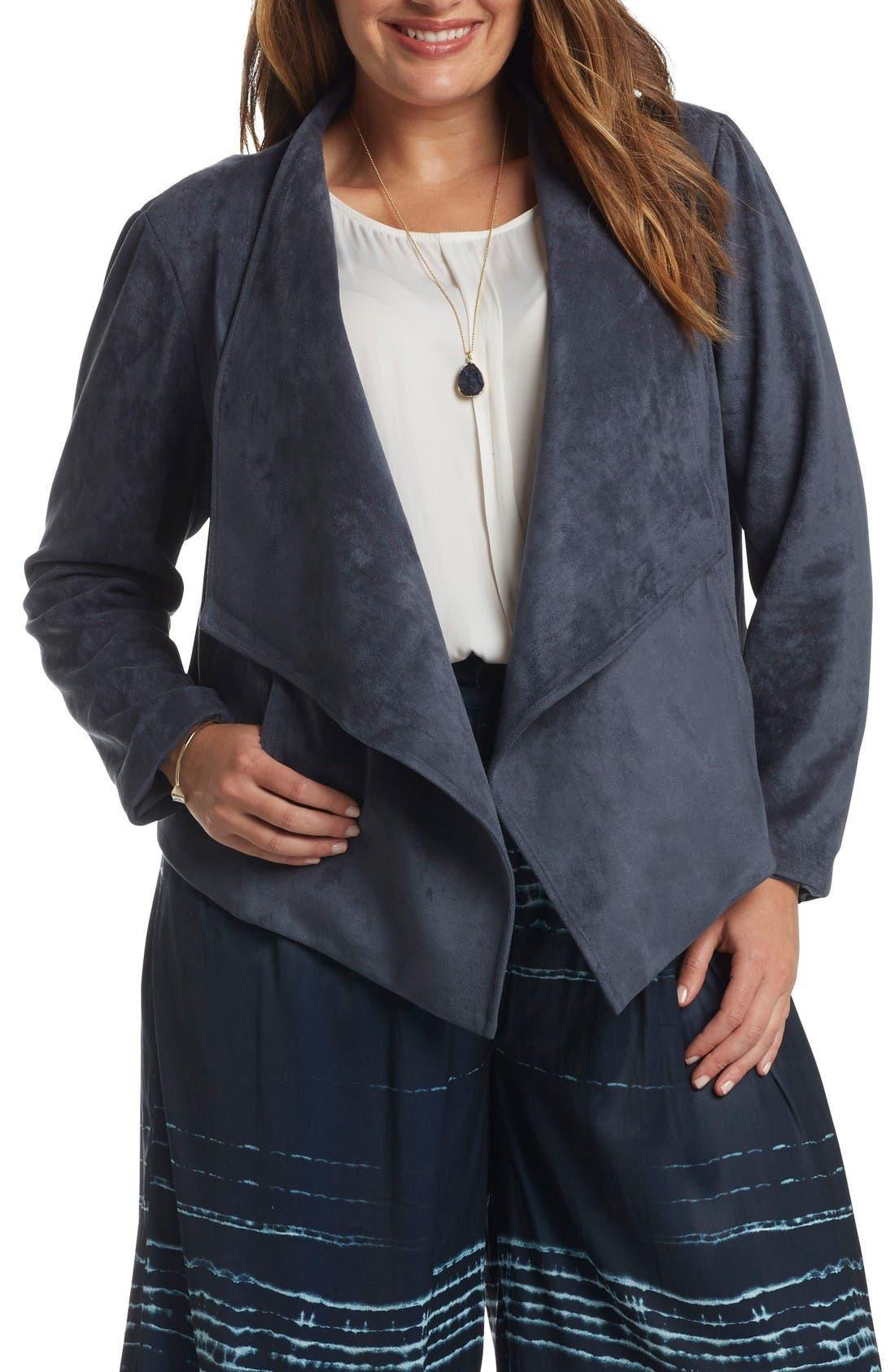 Sybil Faux Suede Drape Front Jacket,                         Main,                         color, Steel Blue