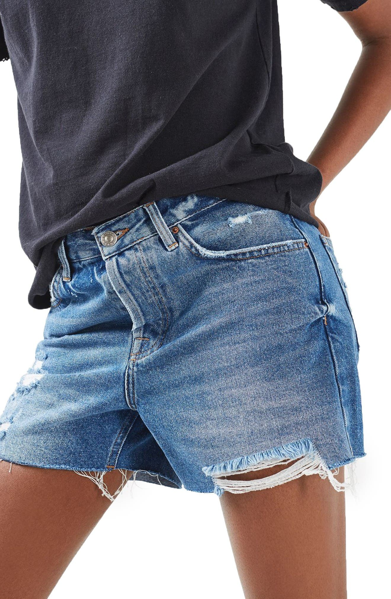 Ashley Ripped Boyfriend Shorts,                             Alternate thumbnail 4, color,                             Mid Denim