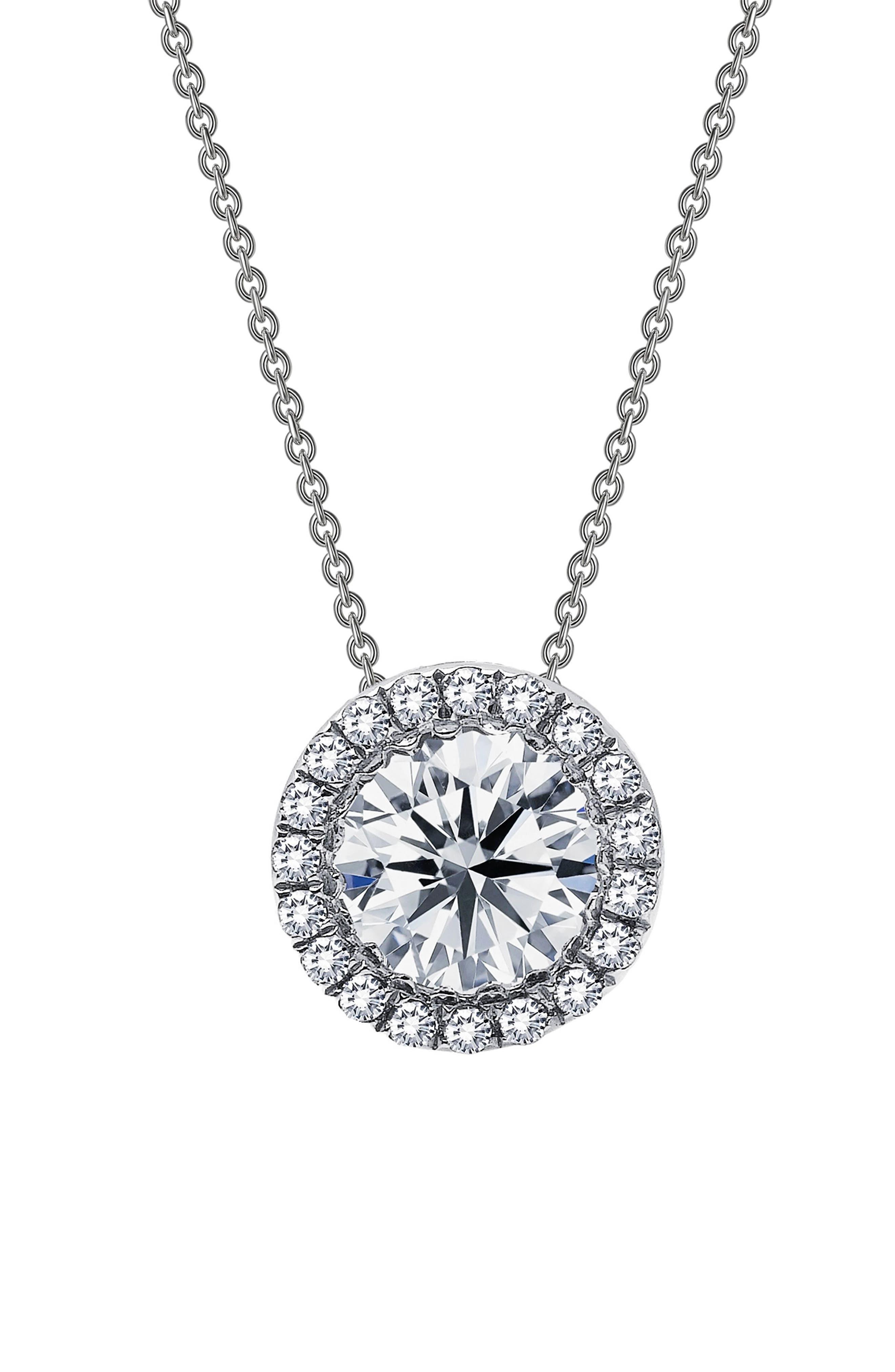 Simulated Diamond Halo Pendant Necklace,                         Main,                         color, Silver