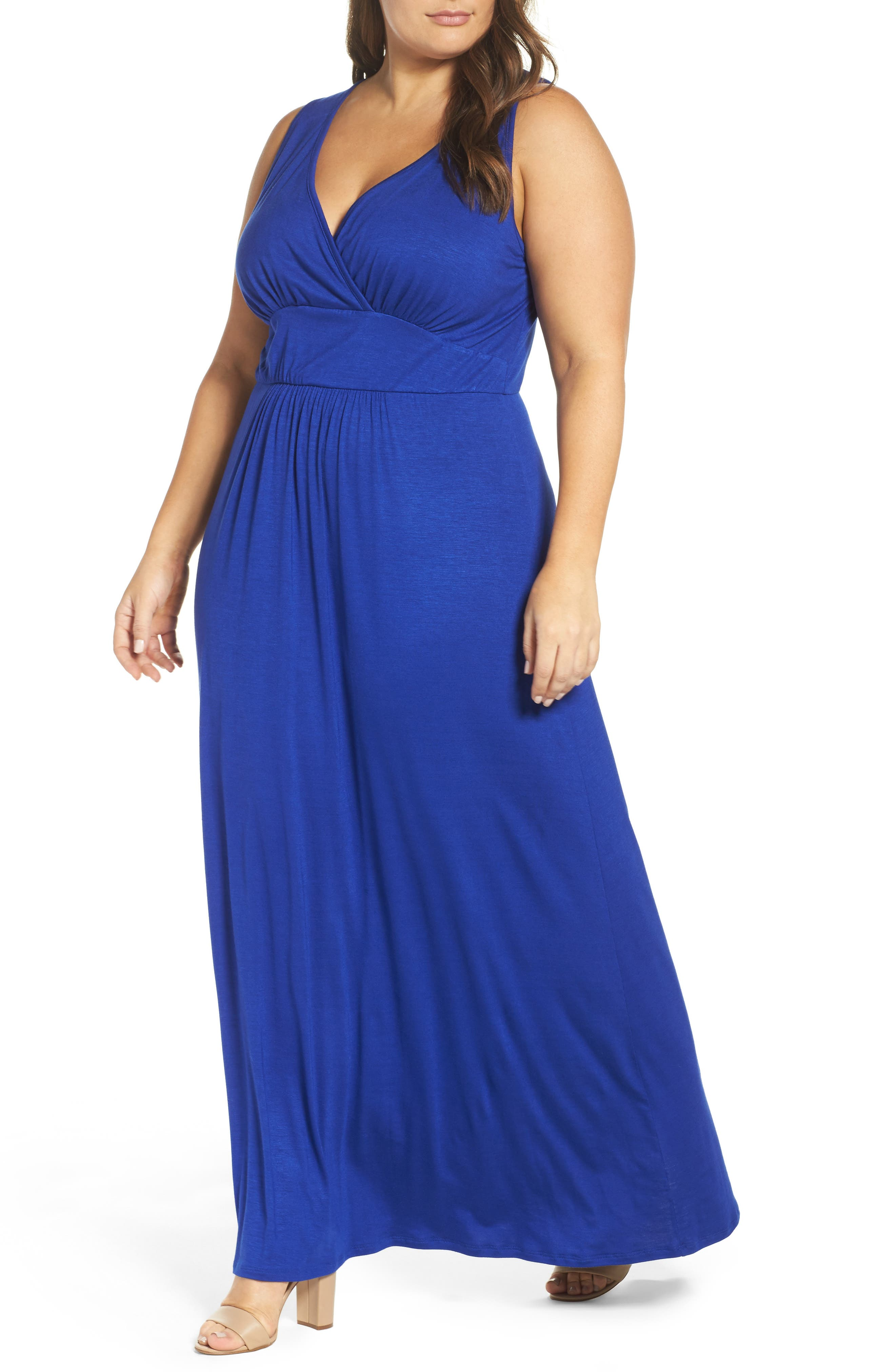 Alternate Image 4  - Loveappella Surplice Maxi Dress (Plus Size)