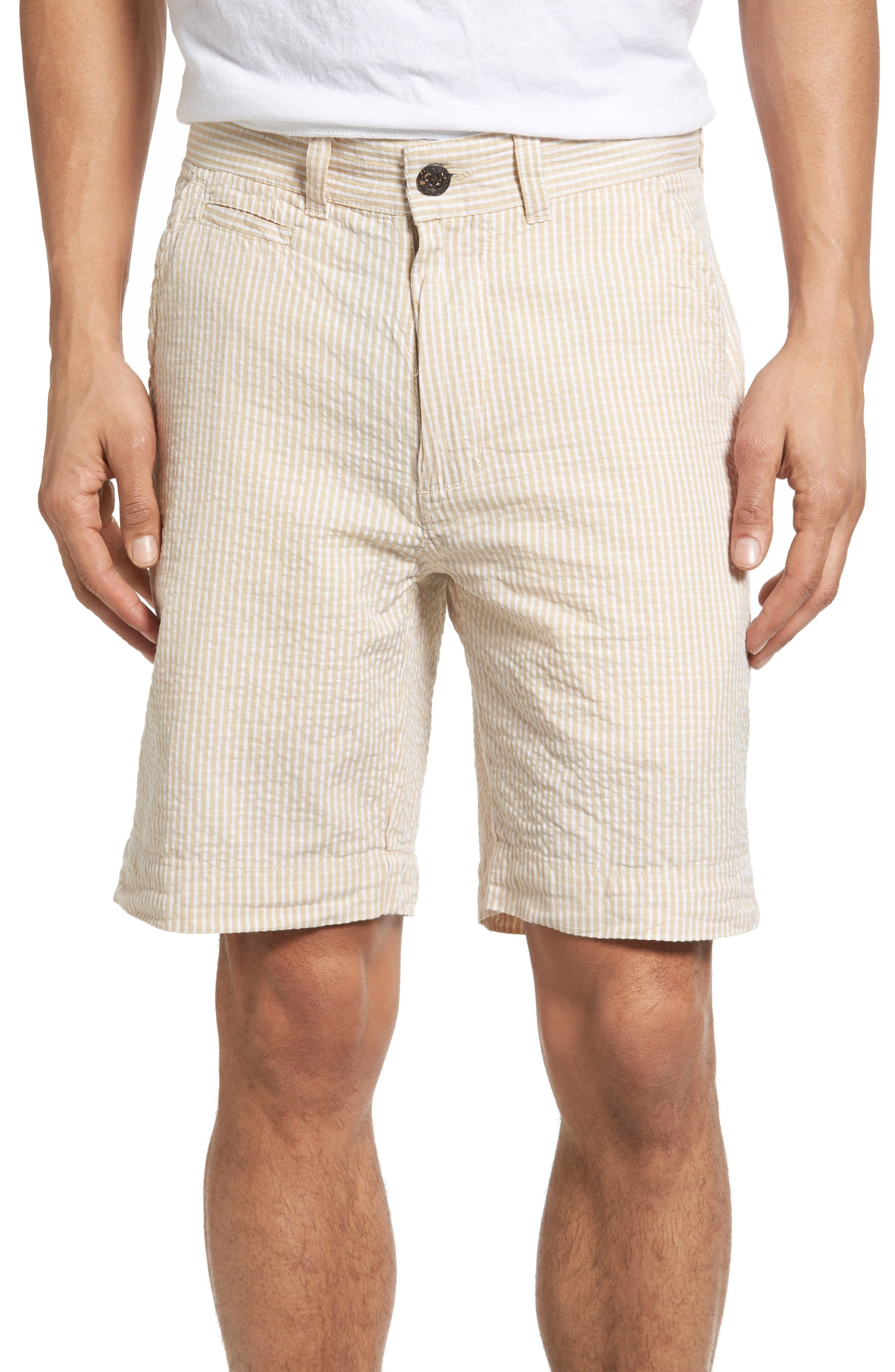 Stripe Seersucker Shorts,                             Main thumbnail 1, color,                             Tan