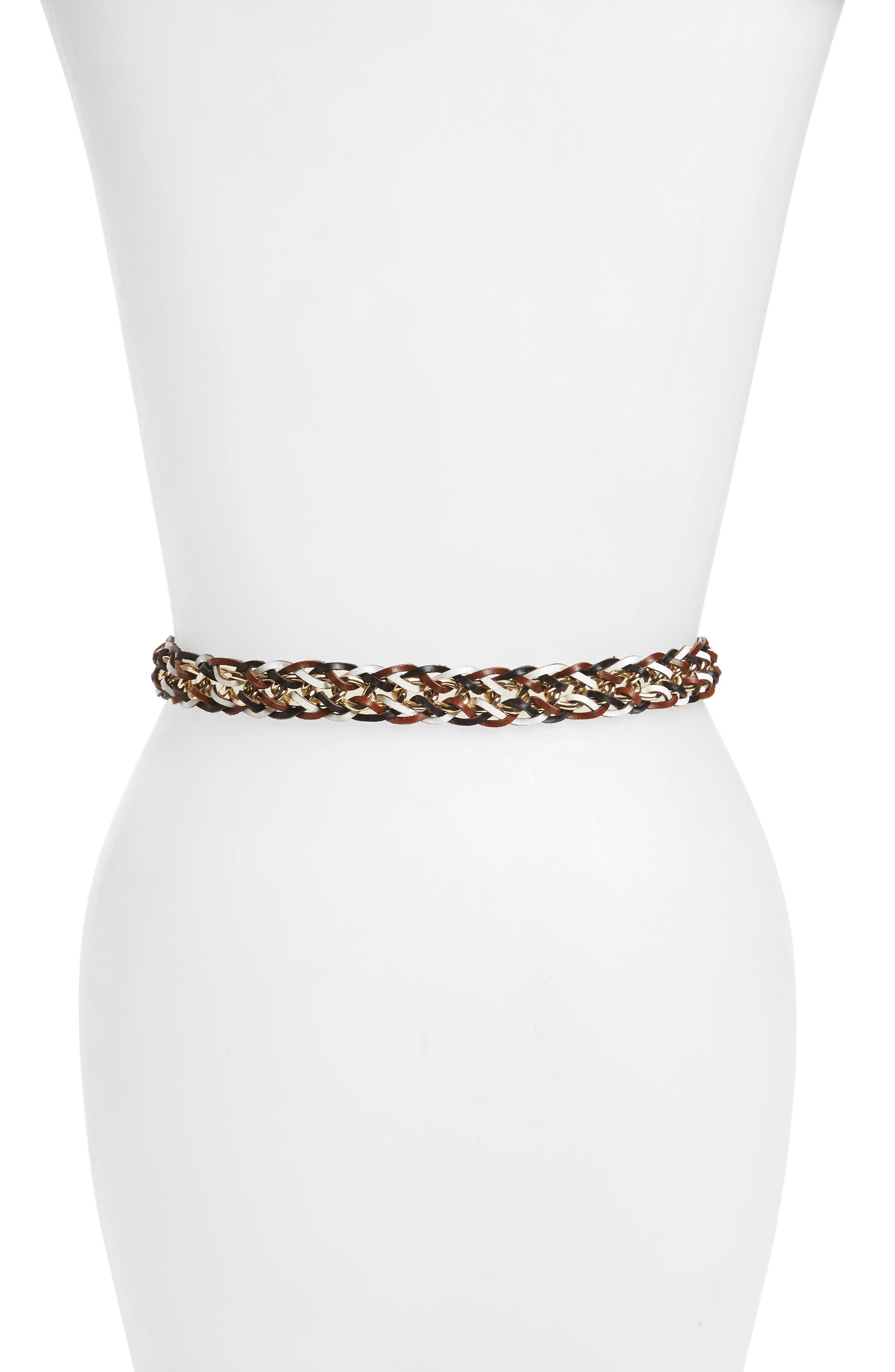 Leather & Chain Belt,                             Alternate thumbnail 2, color,                             Black/White Multi