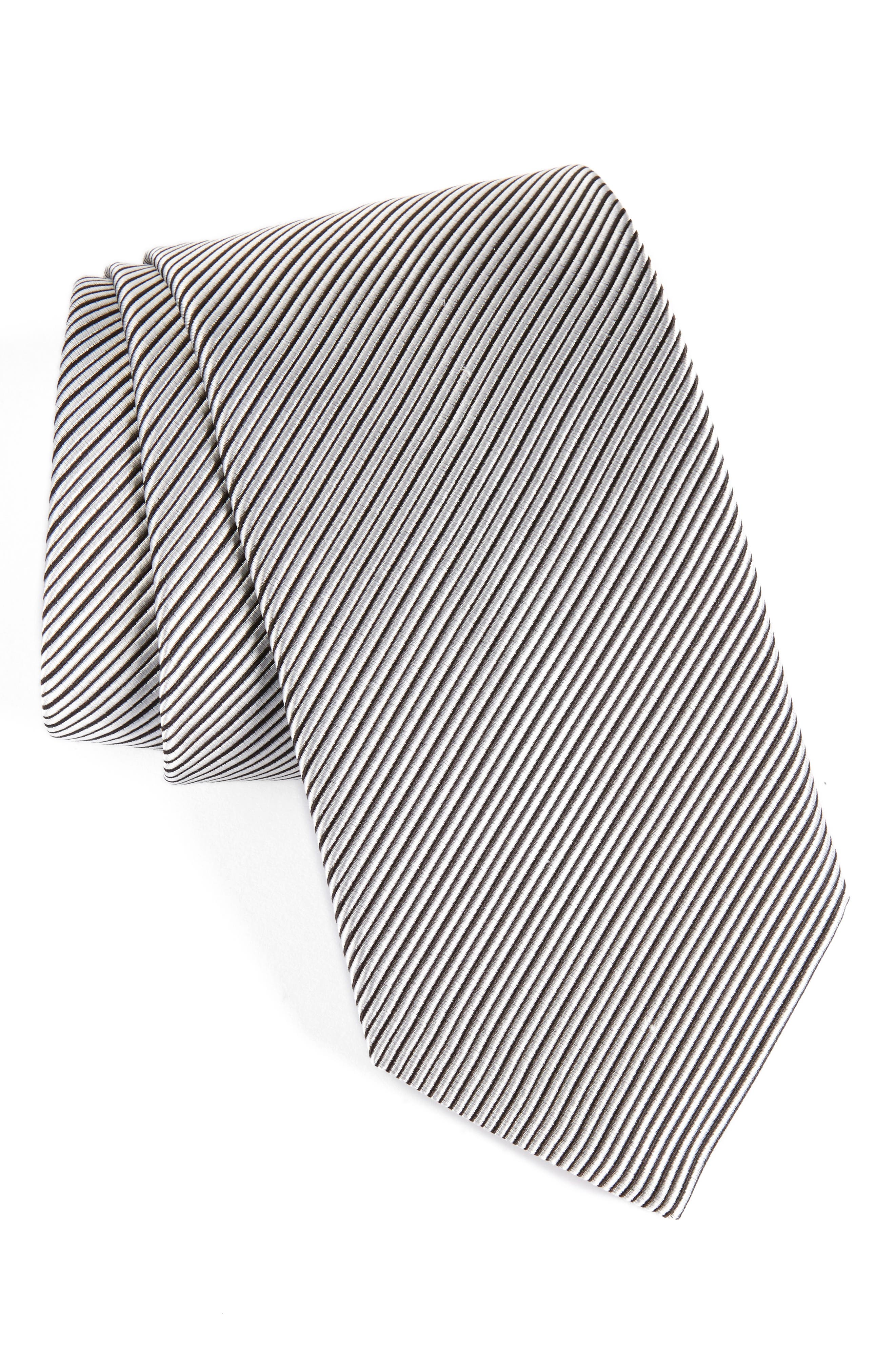 Stripe Silk Tie,                         Main,                         color, Black/ White