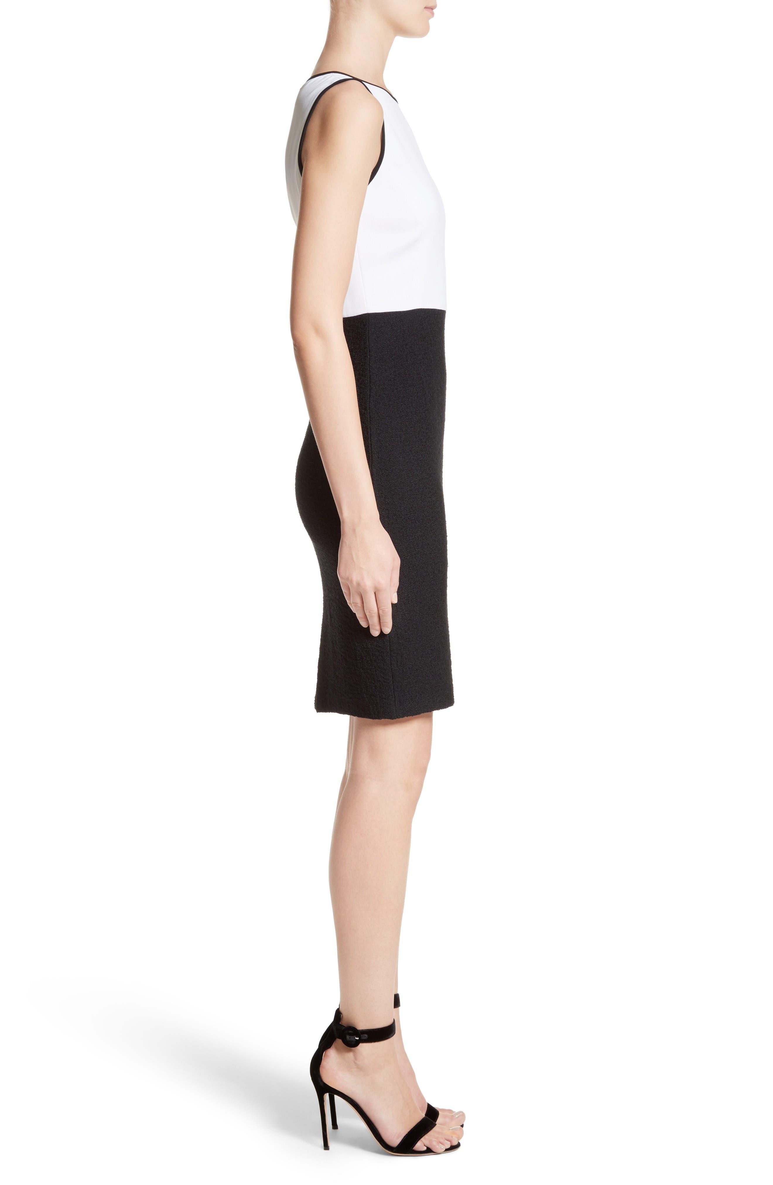 Cady Bodice Clair Knit Dress,                             Alternate thumbnail 3, color,                             Bianco/ Caviar