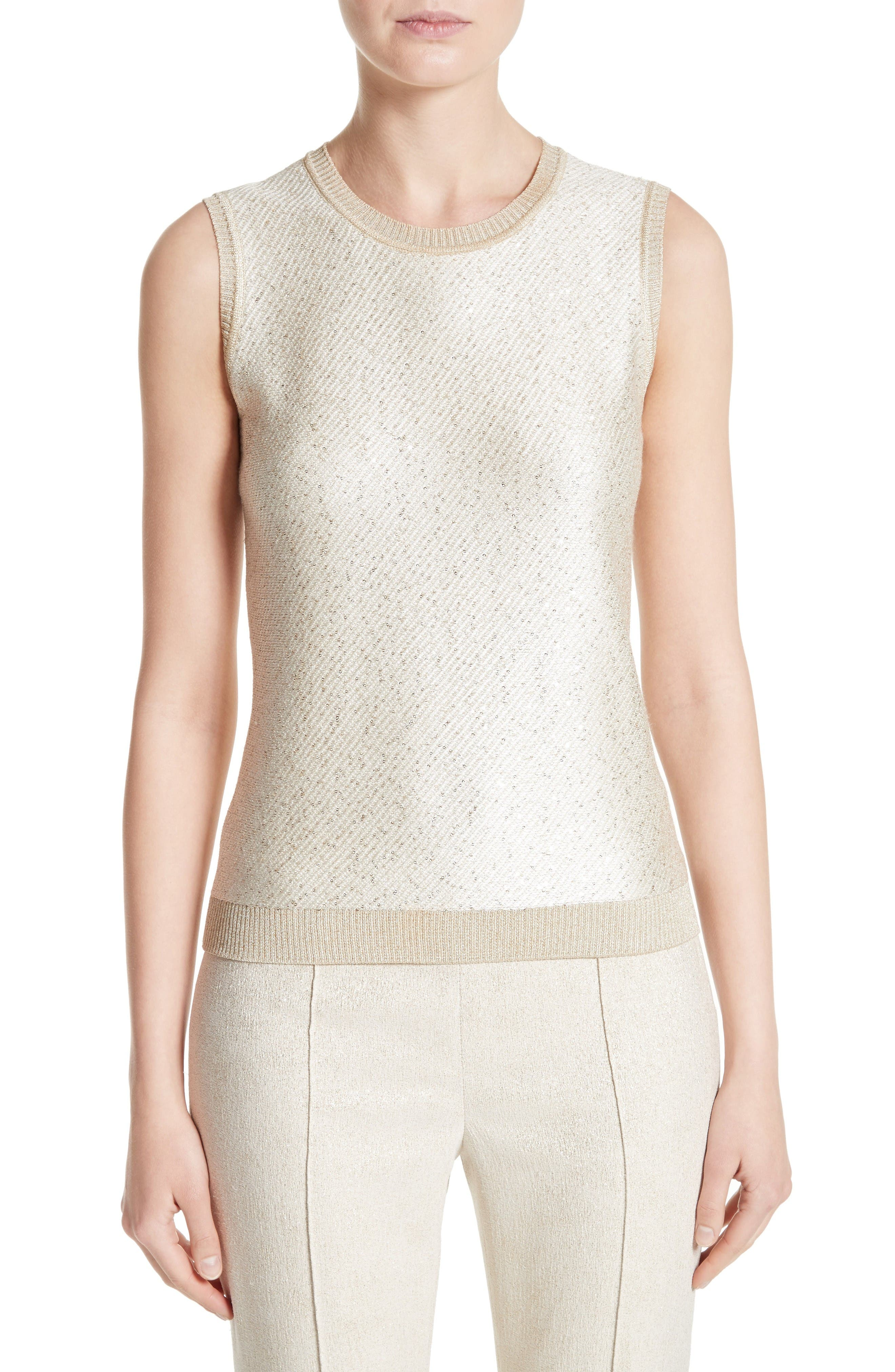 Main Image - St. John Collection Vivaan Sequin Knit Shell
