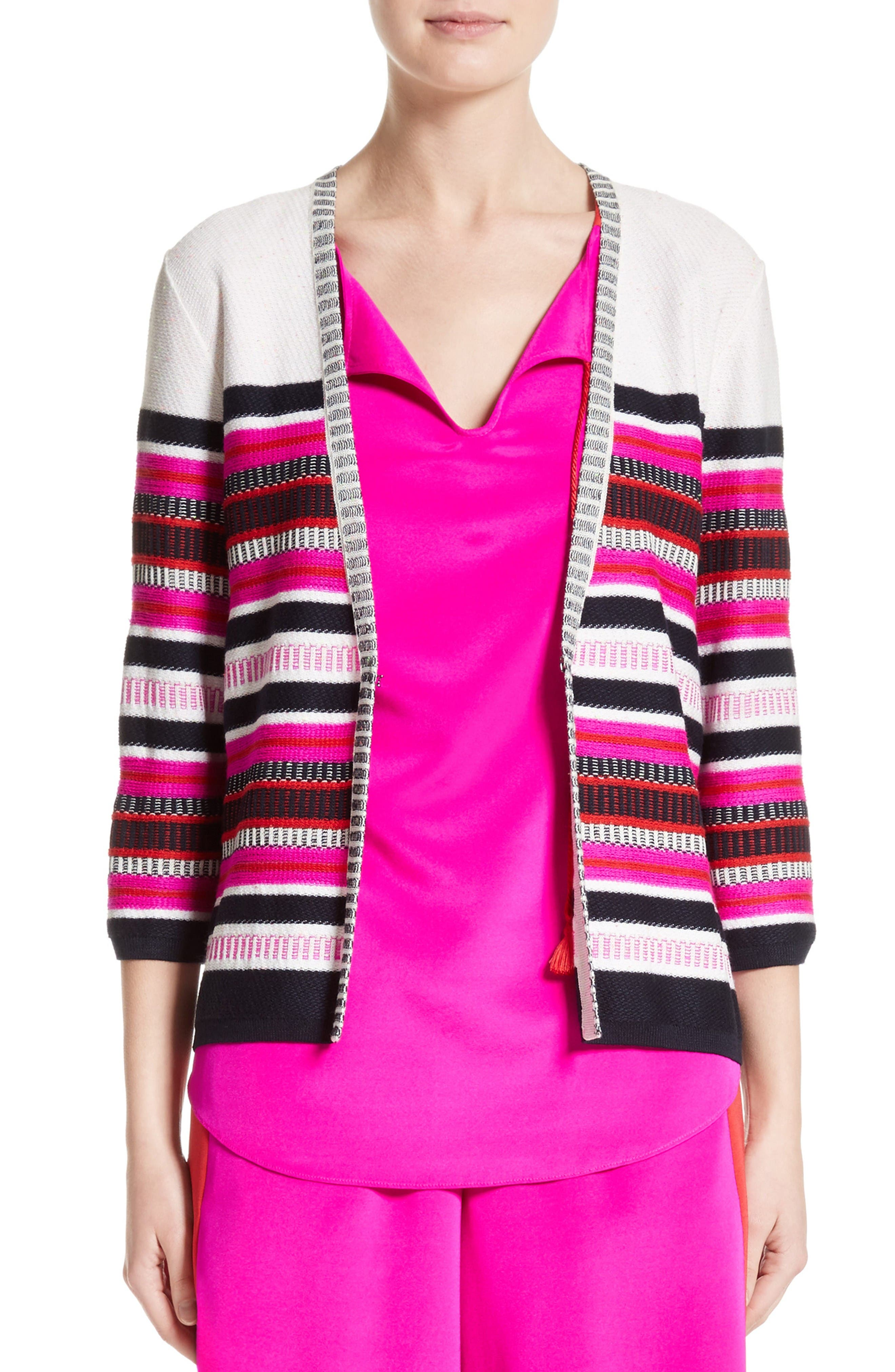 Jacquard Weave Stitch Cardigan,                         Main,                         color, Bianco Multi
