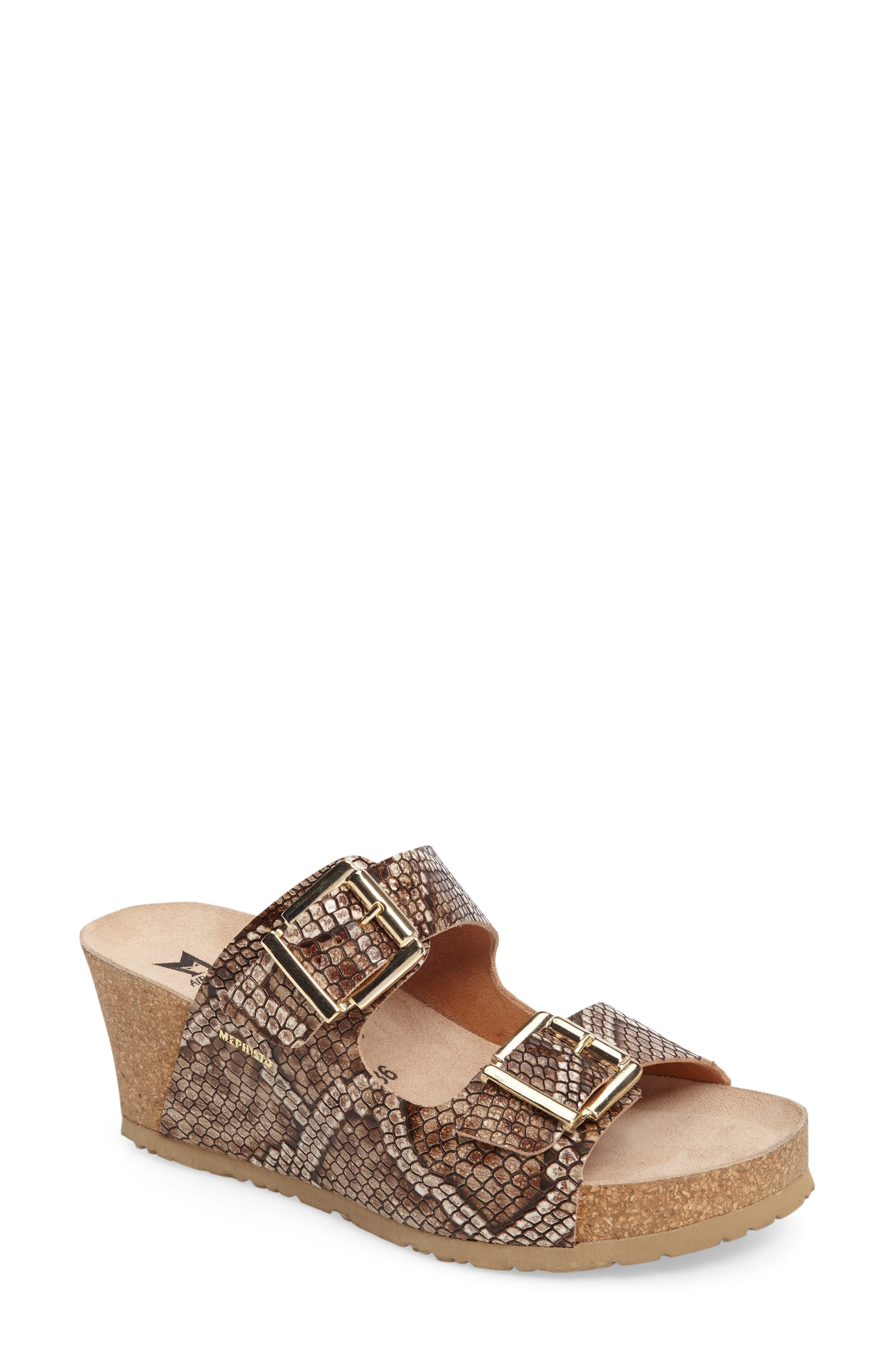Lenia Wedge Sandal,                         Main,                         color, Brown Leather