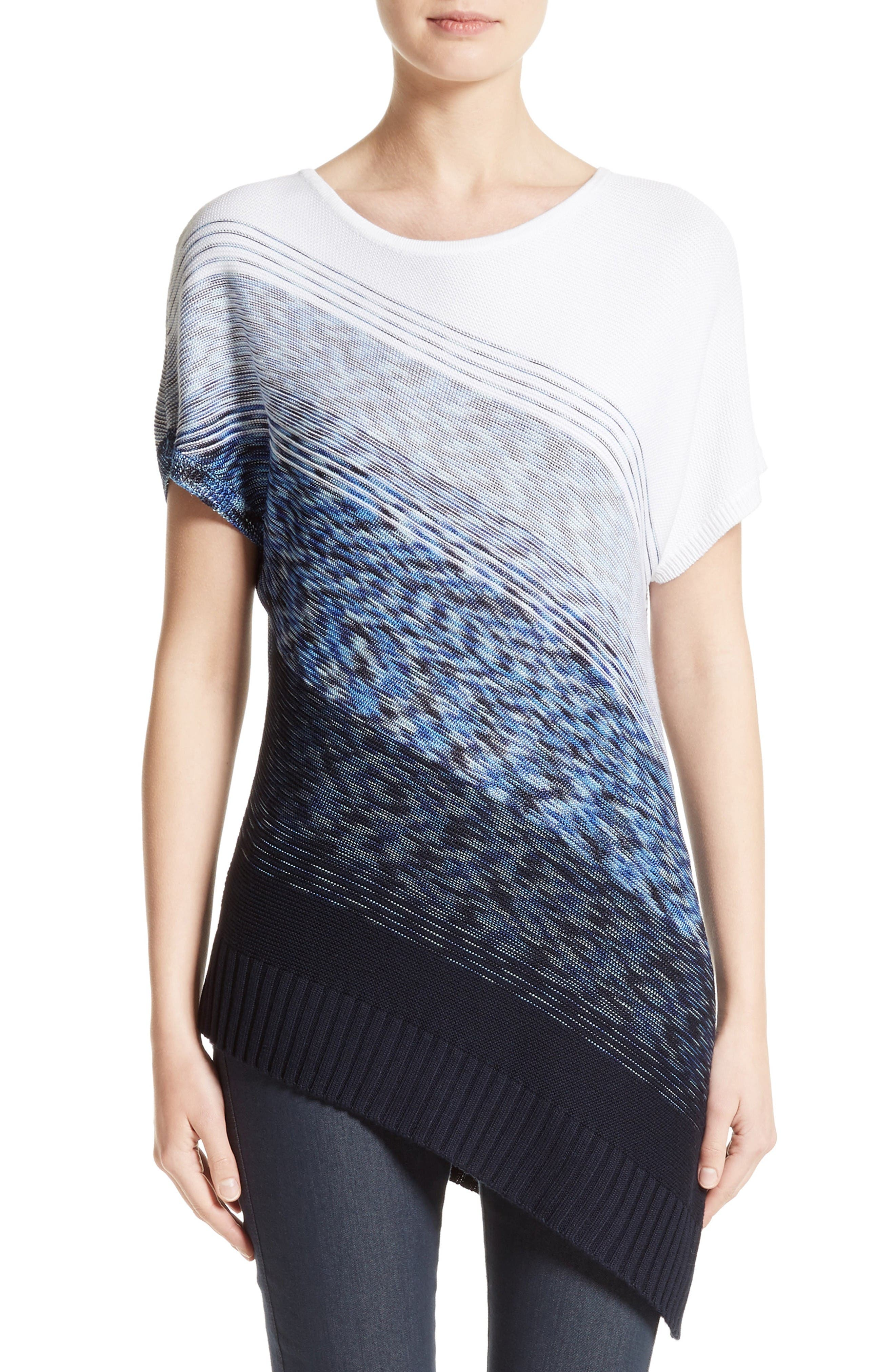 Dégradé Chambray Asymmetrical Sweater,                         Main,                         color, Bianco/ Navy Multi