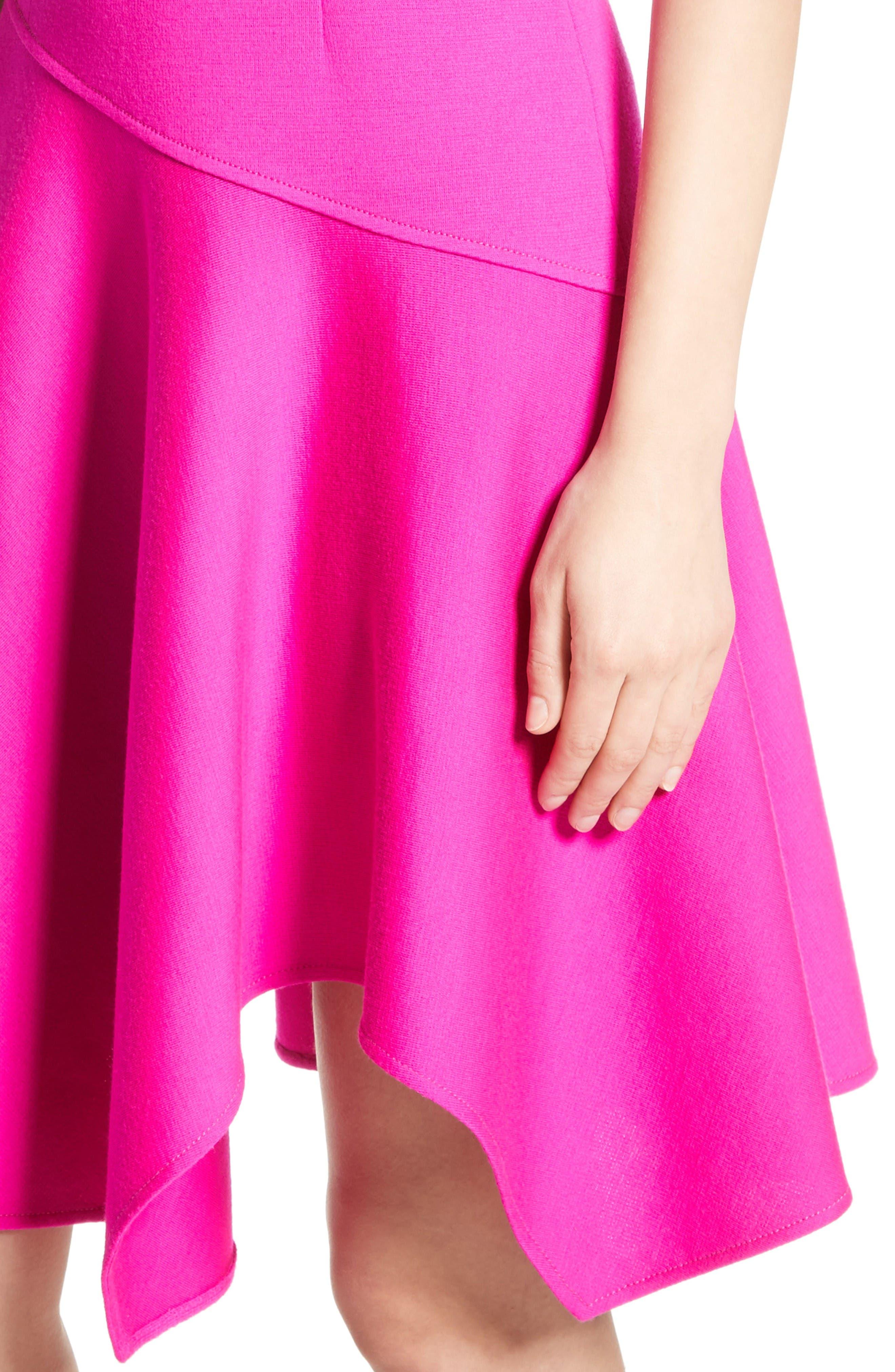 Milano Knit Asymmetrical Dress,                             Alternate thumbnail 4, color,                             Zinnia