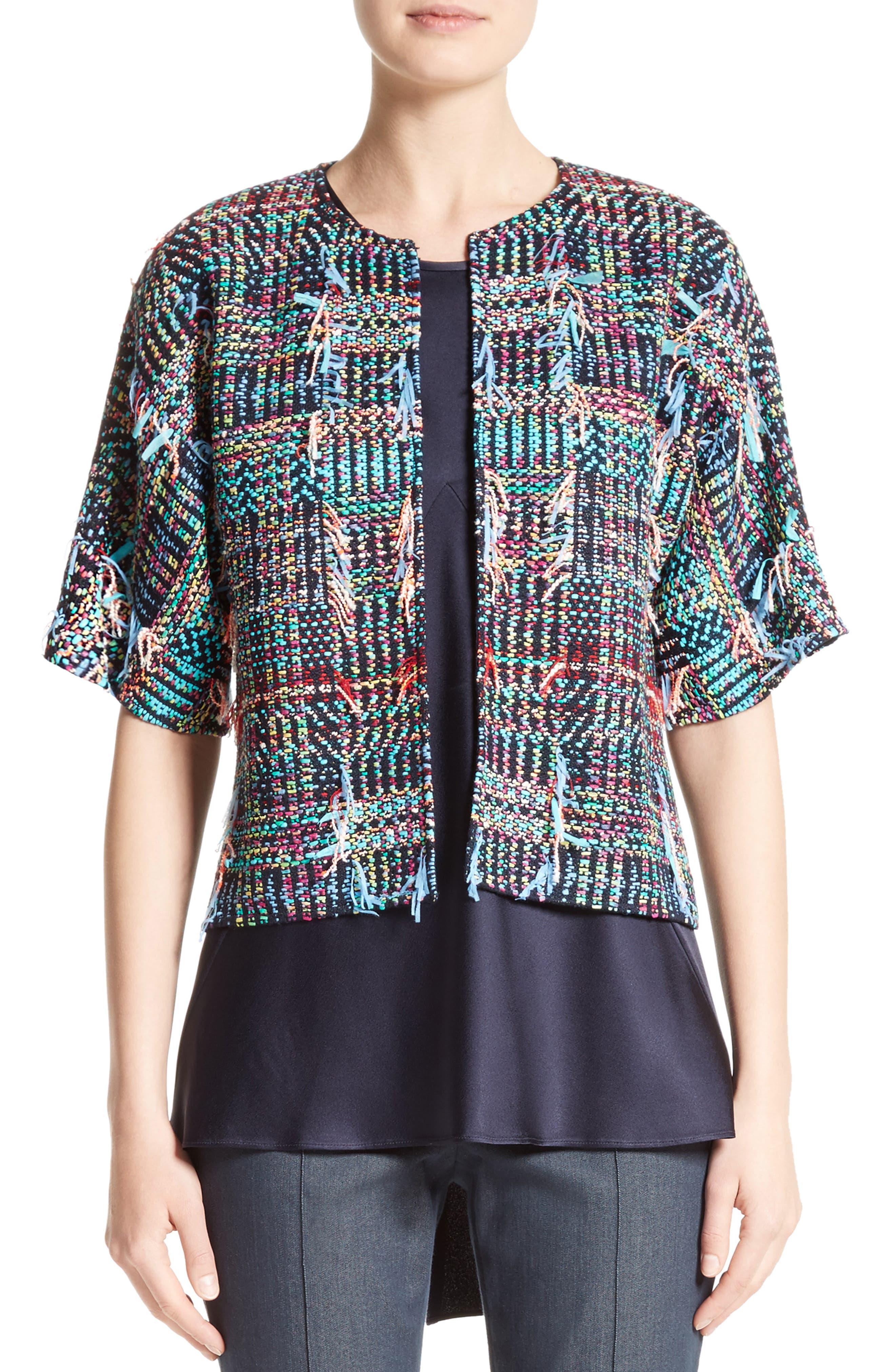Dara Fringe Knit Jacket,                         Main,                         color, Navy Multi