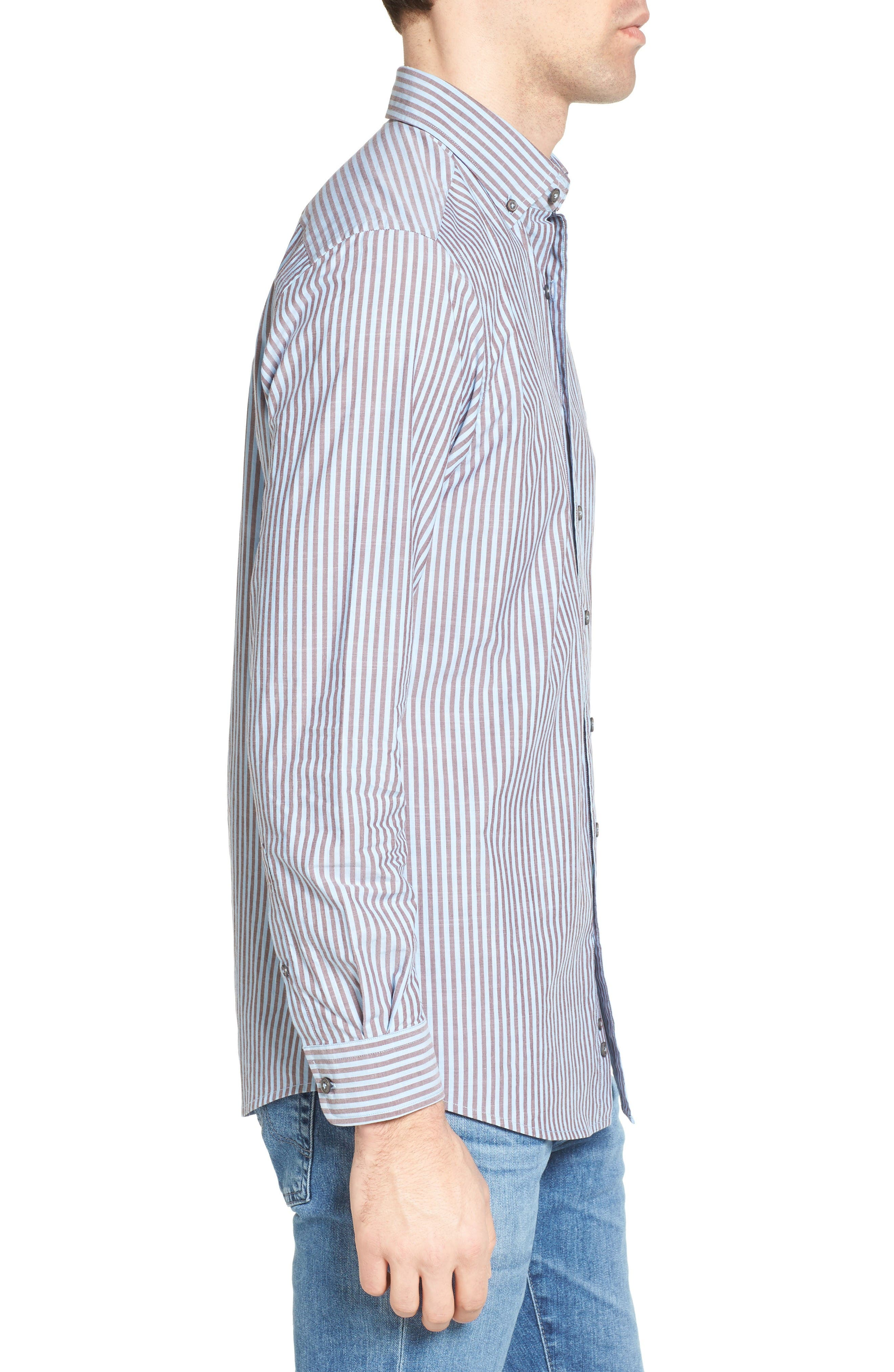 Fitzroy Stripe Sport Shirt,                             Alternate thumbnail 3, color,                             Sky