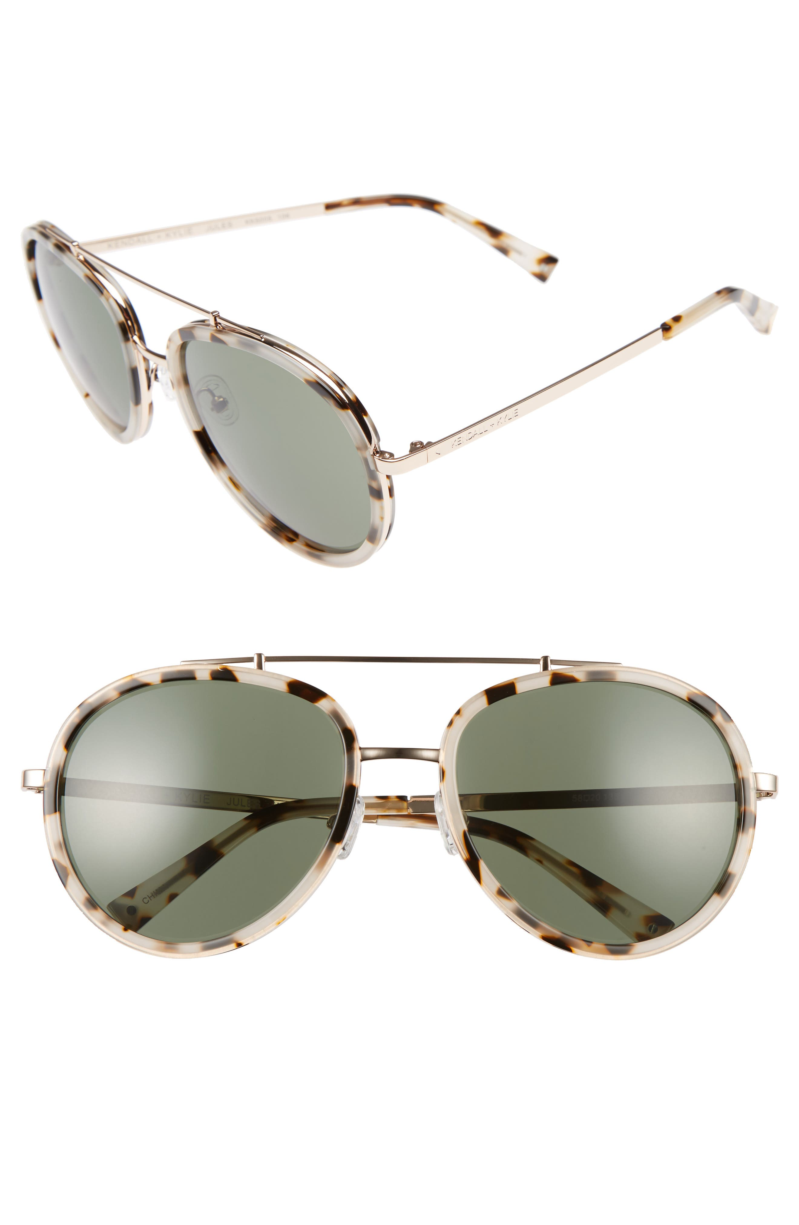 Jules 58mm Aviator Sunglasses,                         Main,                         color, Crystal Black/ White/ Gold