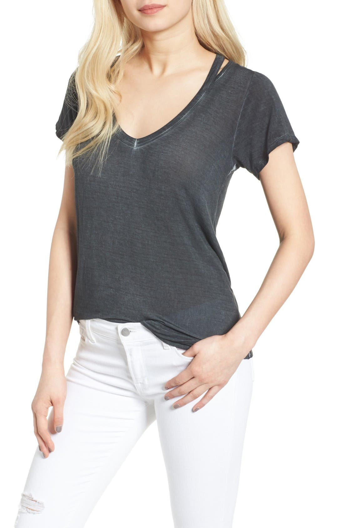 Treasure & Bond Oil Wash Cutout Tee