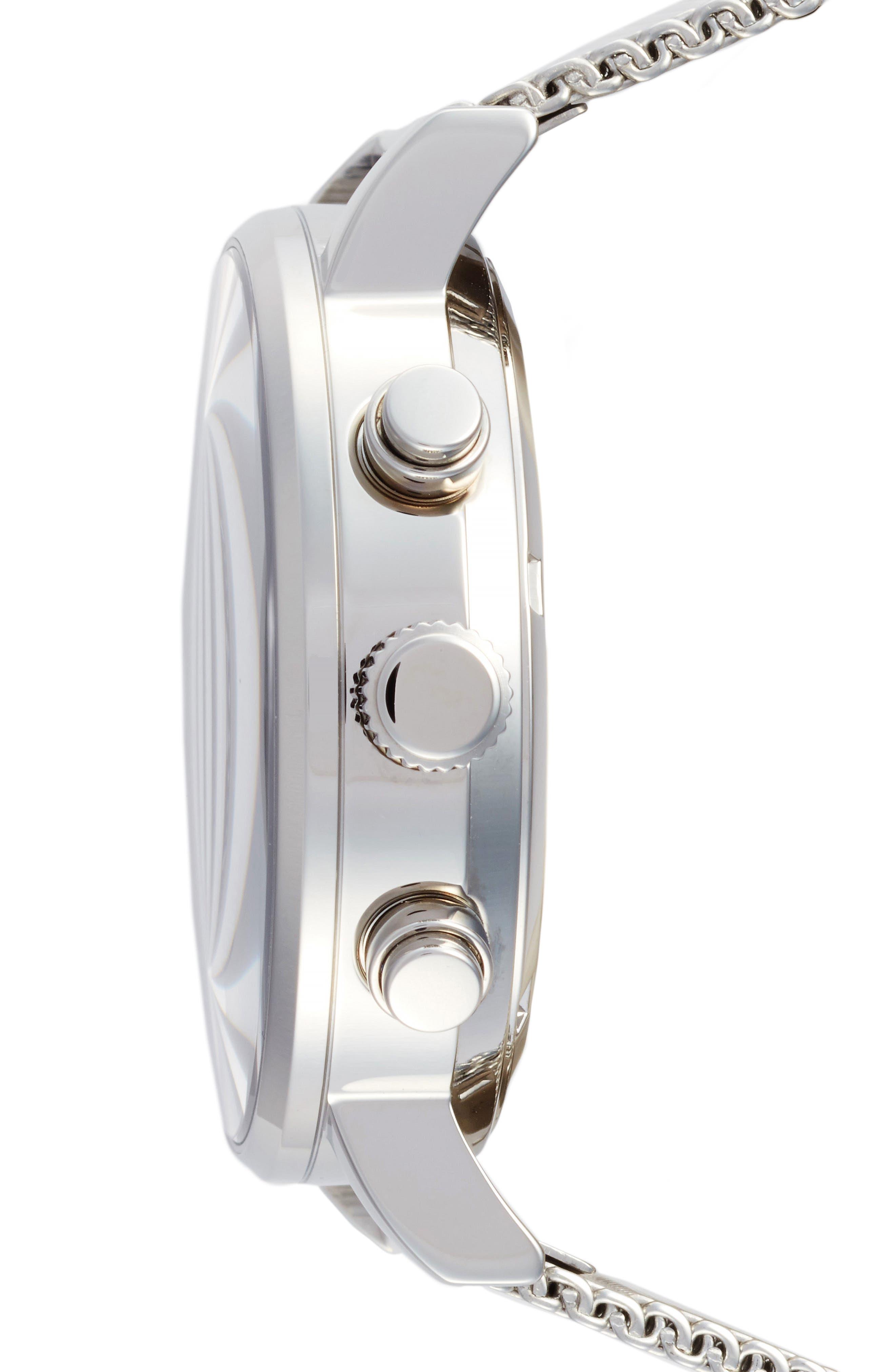 2.0 Chronograph Mesh Strap Watch, 40mm,                             Alternate thumbnail 3, color,                             Silver/ Black