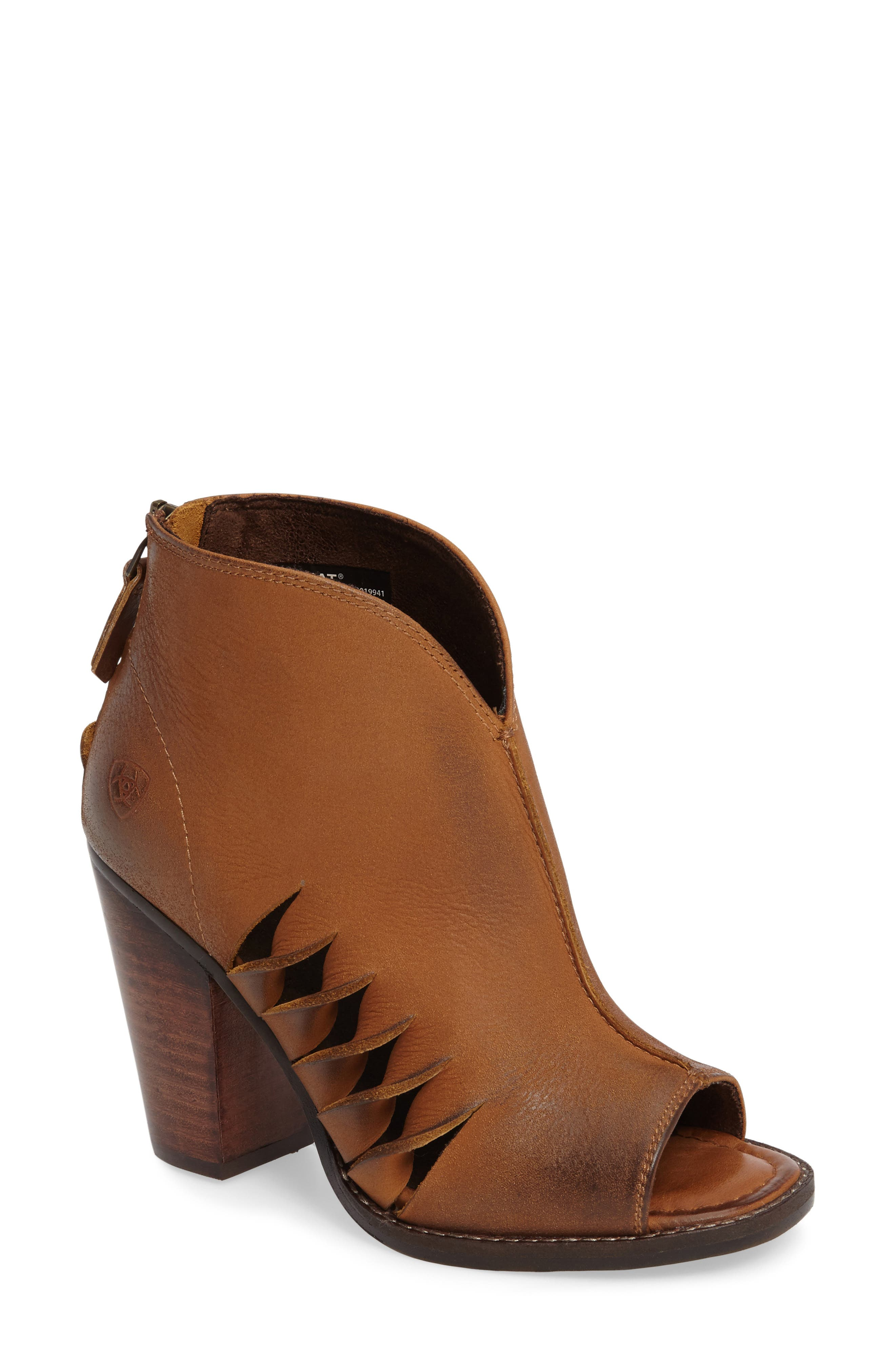 Lindsley Peep Toe Bootie,                             Main thumbnail 1, color,                             Tennessee Tan Leather