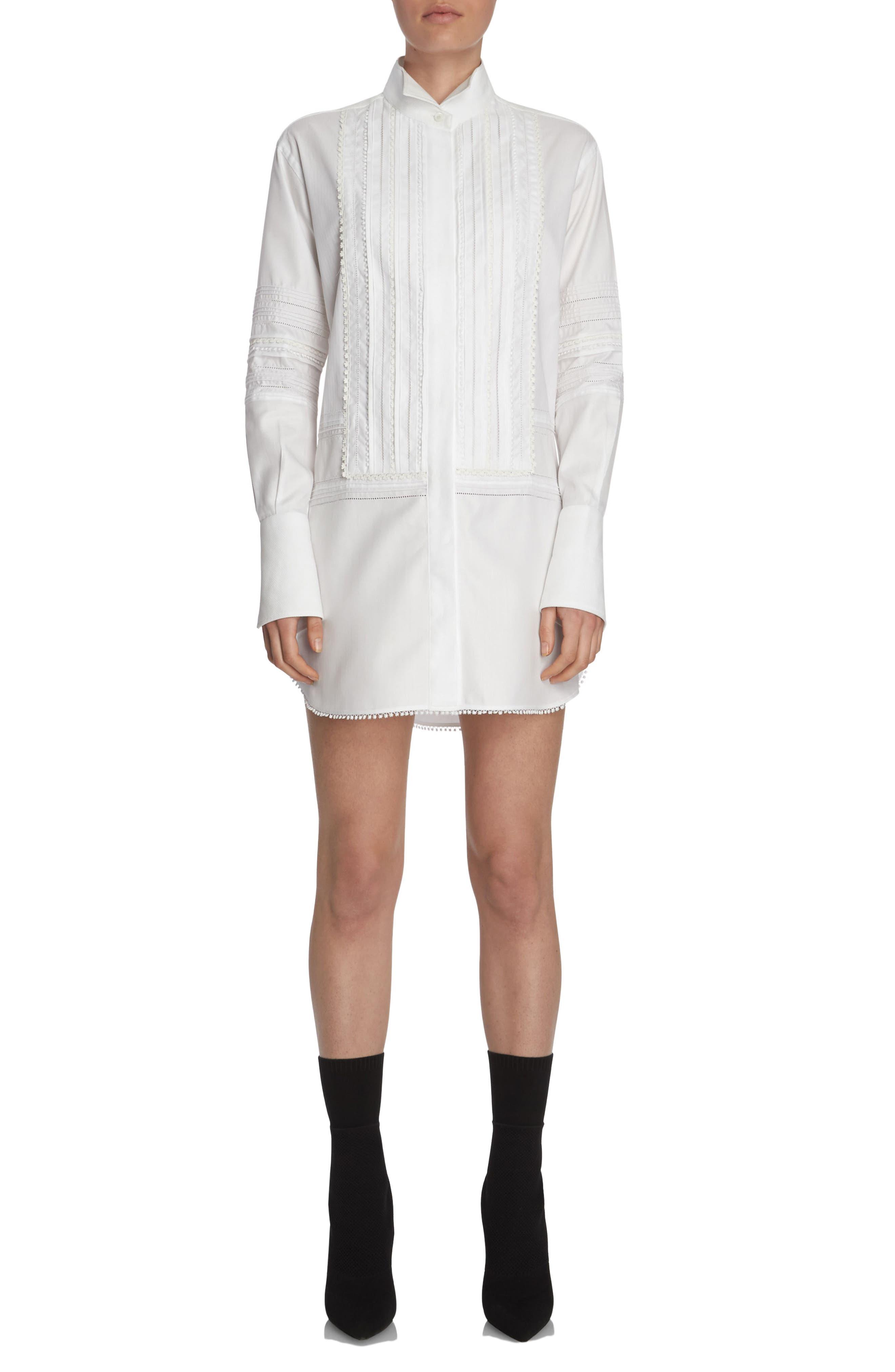 Pintuck Cotton Shirtdress,                         Main,                         color, White