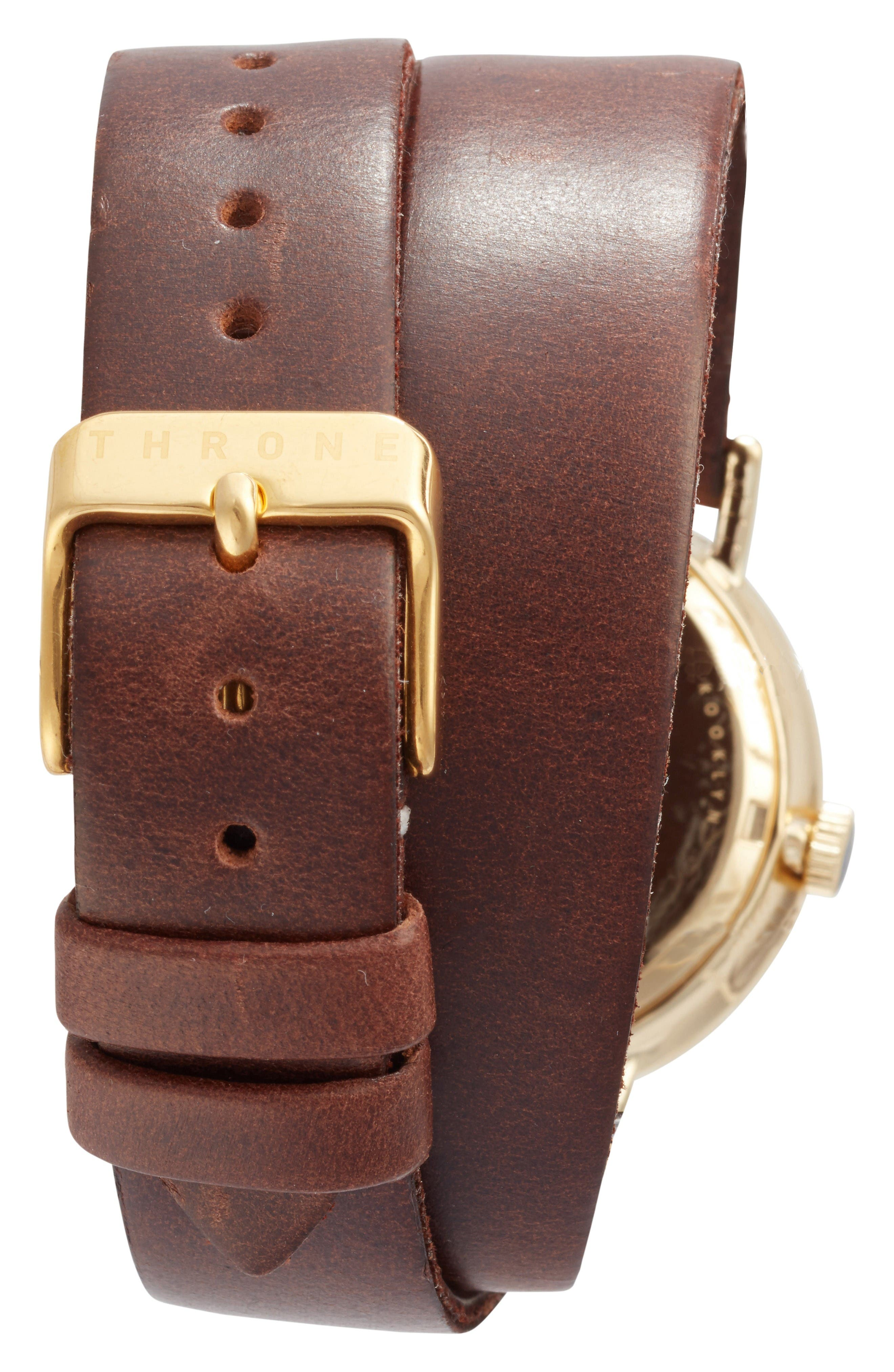 1.0 Leather Wrap Strap Watch, 36mm,                             Alternate thumbnail 2, color,                             Brown/ White/ Gold