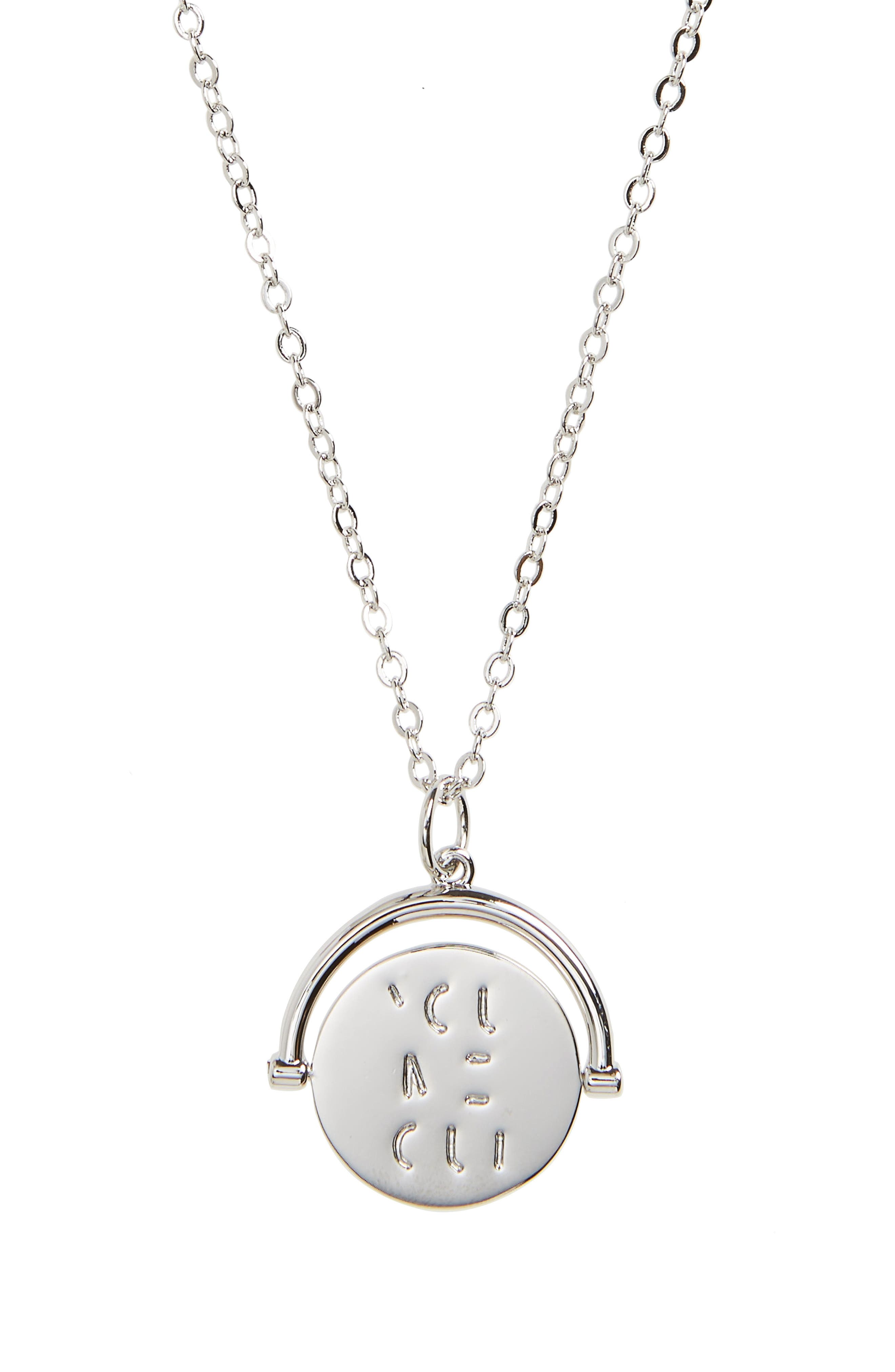 You Me Oui Love Code Charm Necklace,                         Main,                         color, You Me Oui/ Silver