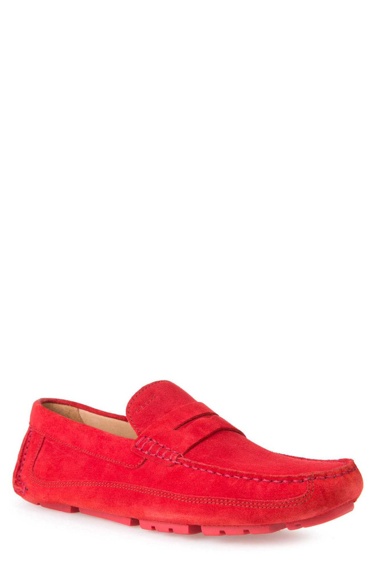 Melbourne 1 Driving Shoe,                             Main thumbnail 1, color,                             Red Suede