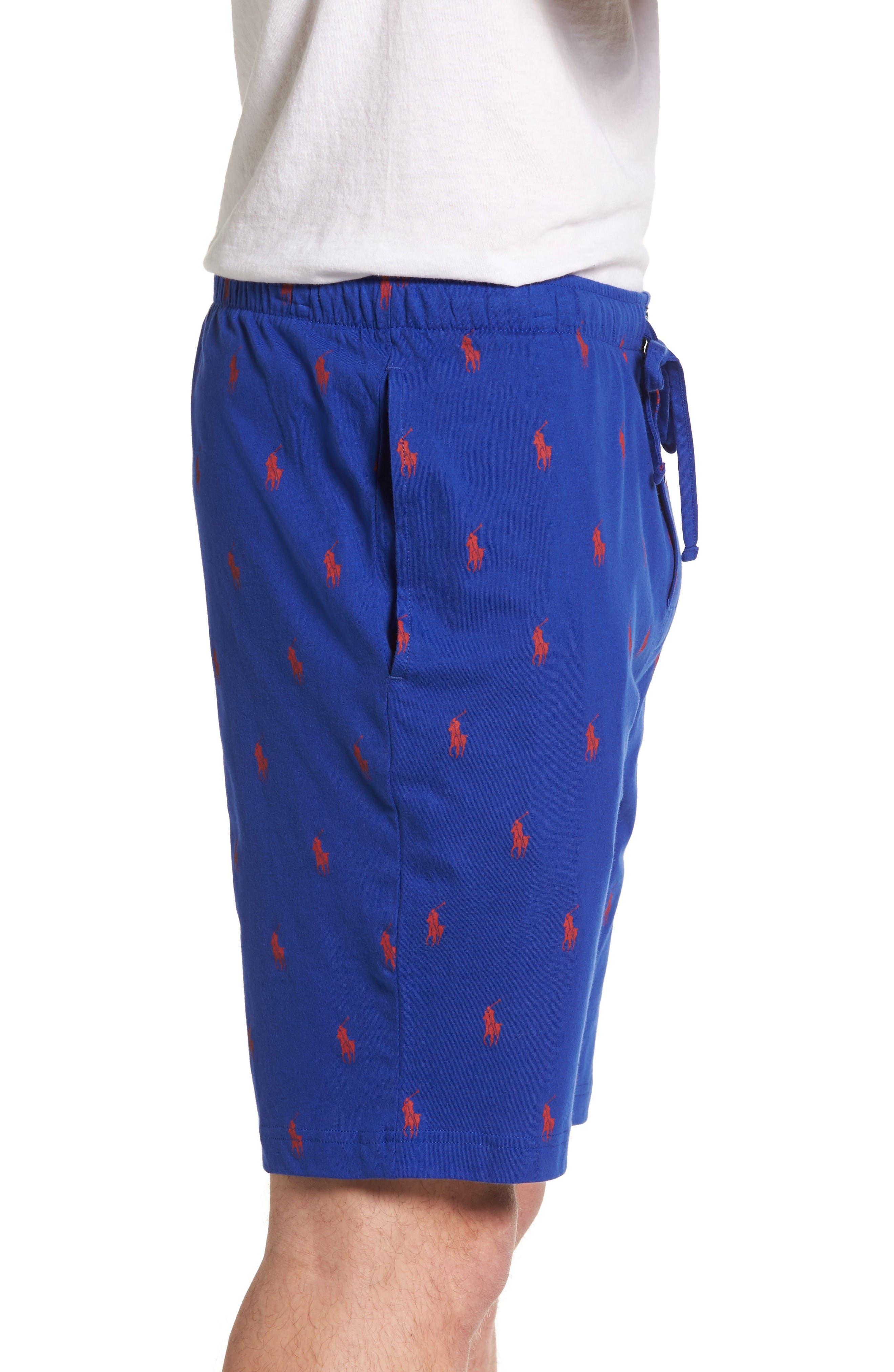 Cotton Sleep Shorts,                             Alternate thumbnail 3, color,                             Logan Sapphire