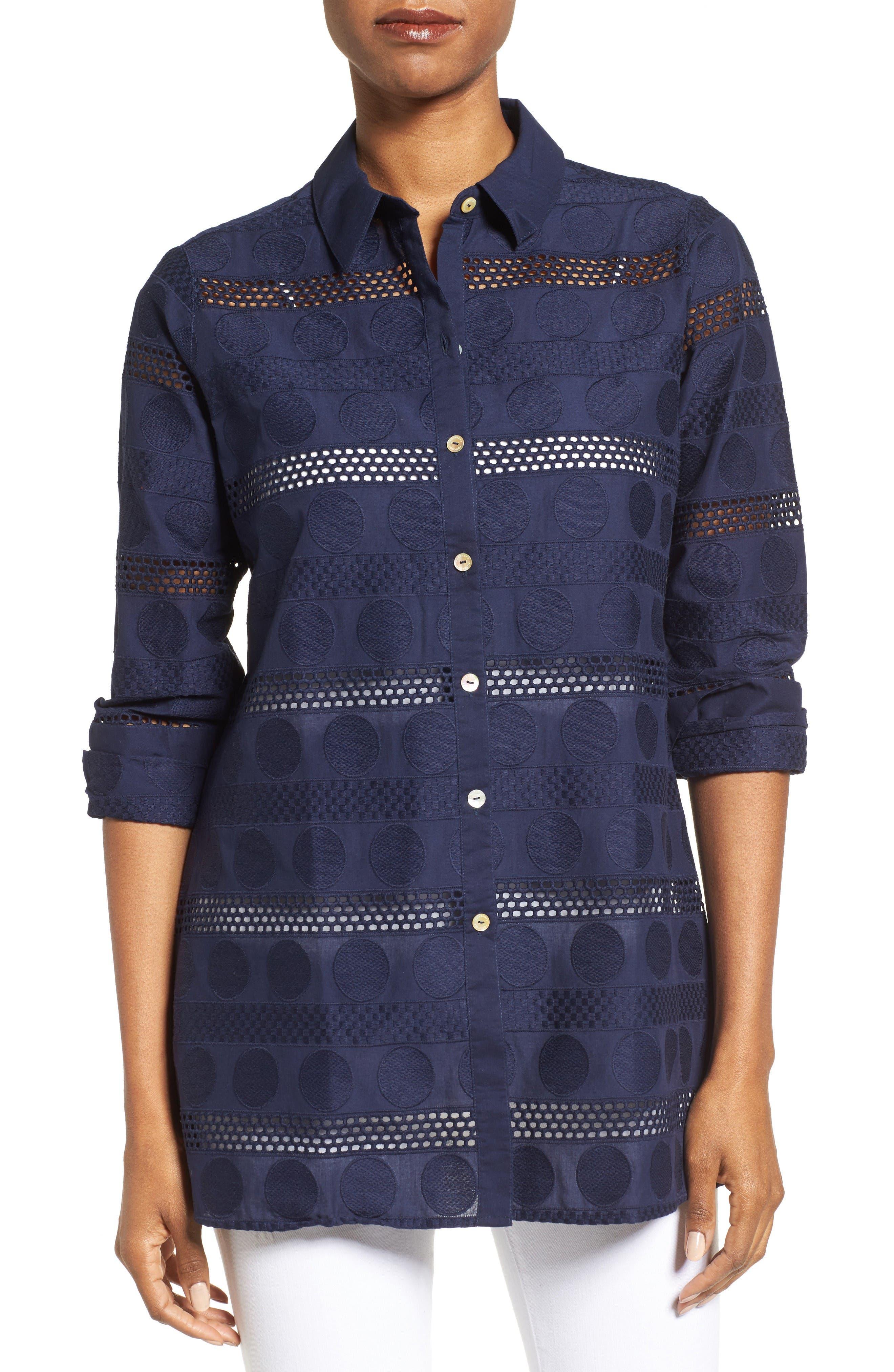 Circle Eyelet Tunic Shirt,                         Main,                         color, Navy