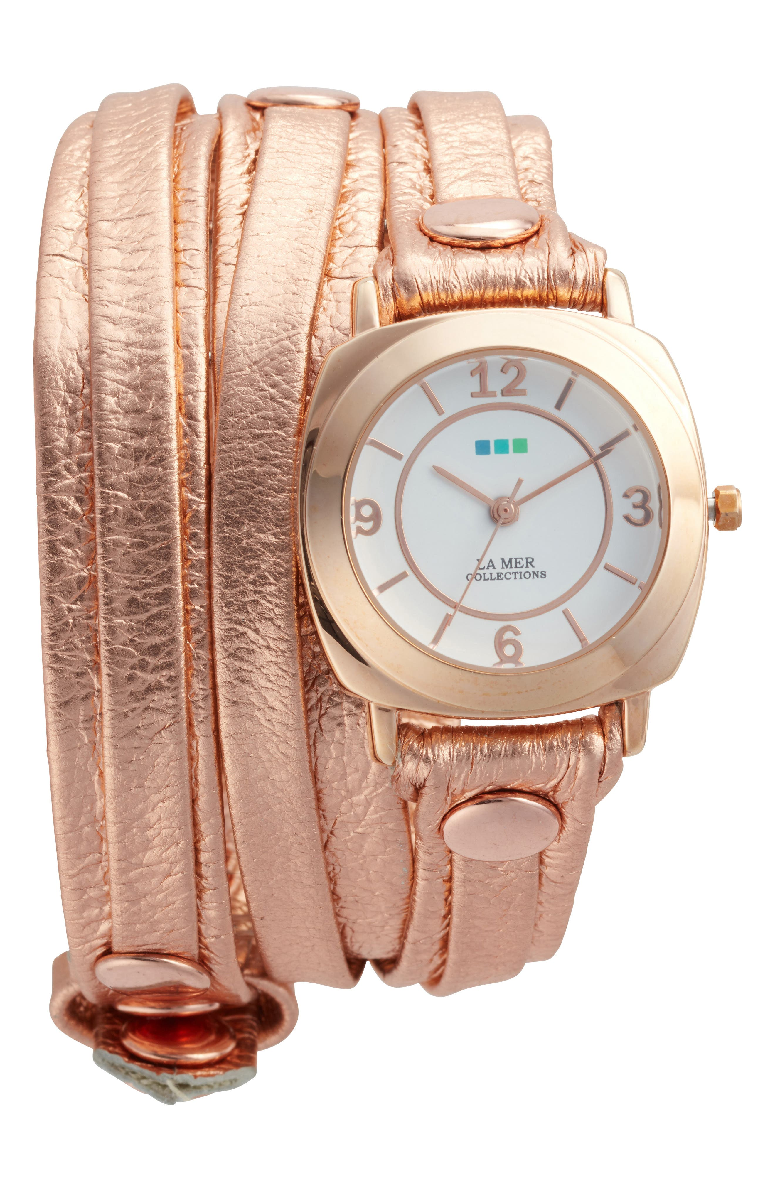 Odyssey Leather Wrap Strap Watch, 25.4mm,                             Main thumbnail 1, color,                             Rose Gold/ White