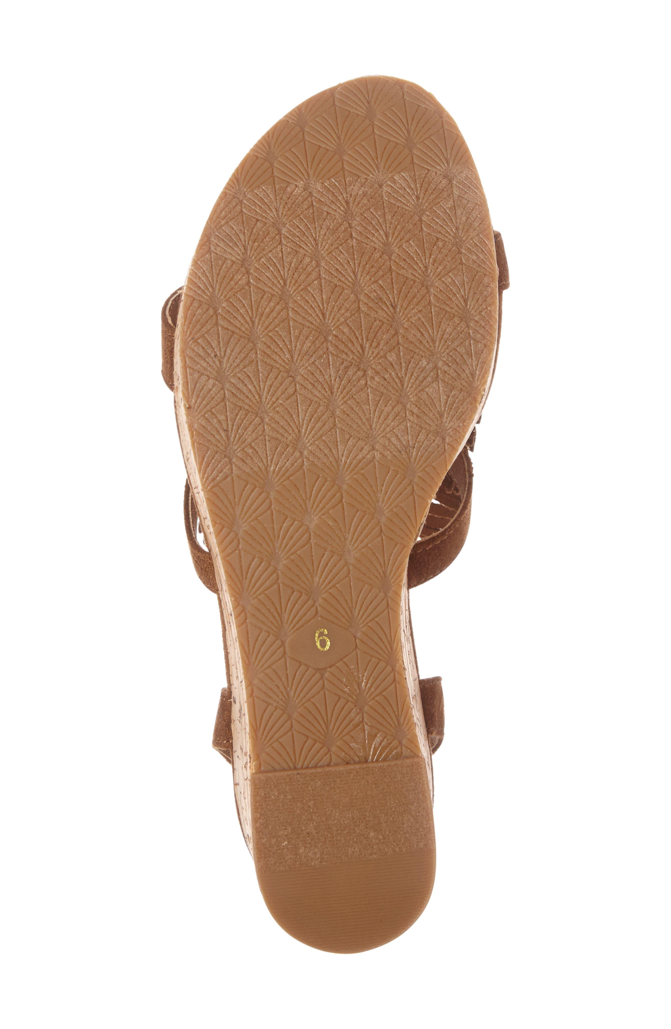 Unbridled Lolita Wedge Sandal,                             Alternate thumbnail 4, color,                             Light Cognac Suede