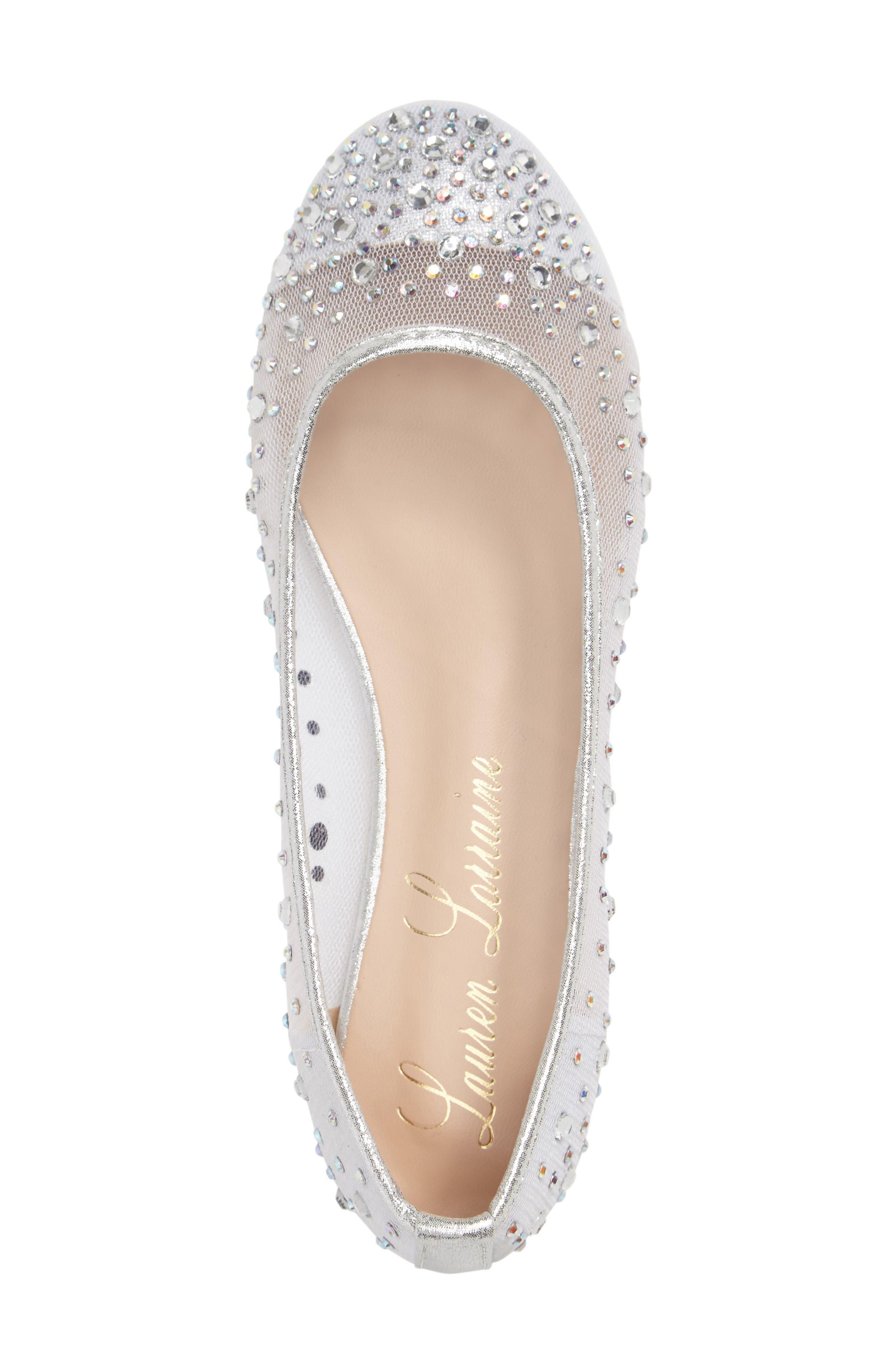Crystal Embellished Ballet Flat,                             Alternate thumbnail 3, color,                             Silver