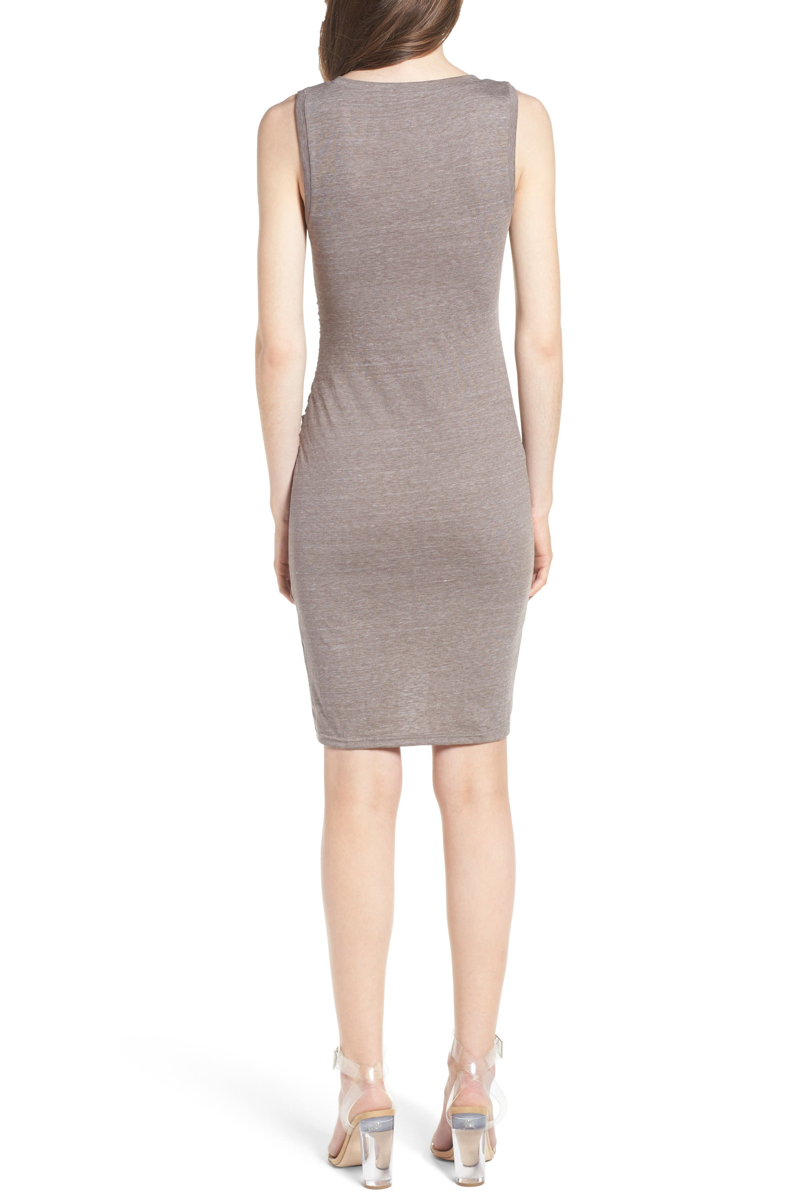 Ruched Body-Con Tank Dress,                             Alternate thumbnail 2, color,                             Tan Dusk Heather