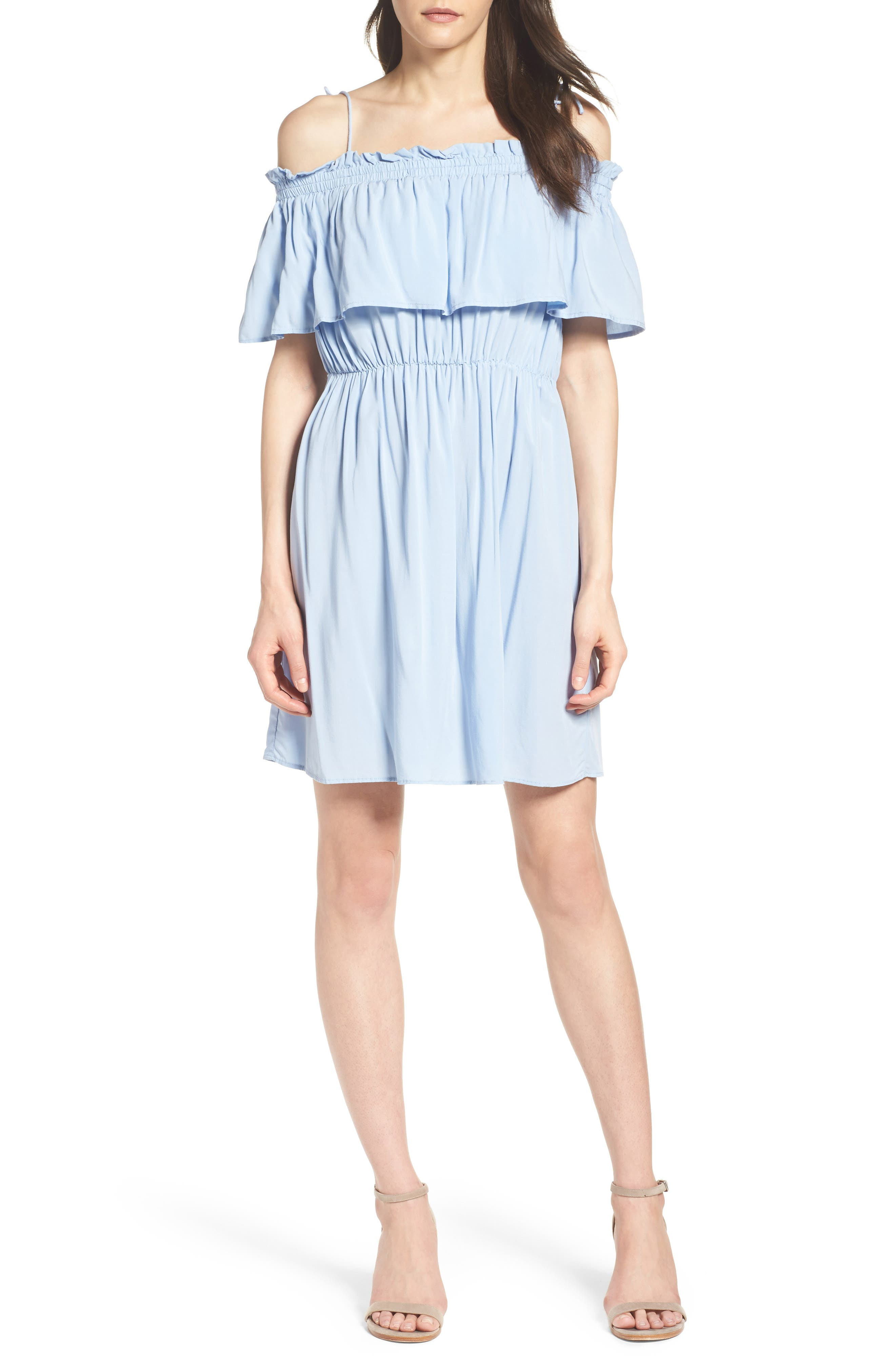 Chelsea Ruffle Bodice Off the Shoulder Dress,                             Alternate thumbnail 4, color,                             Sky Blue