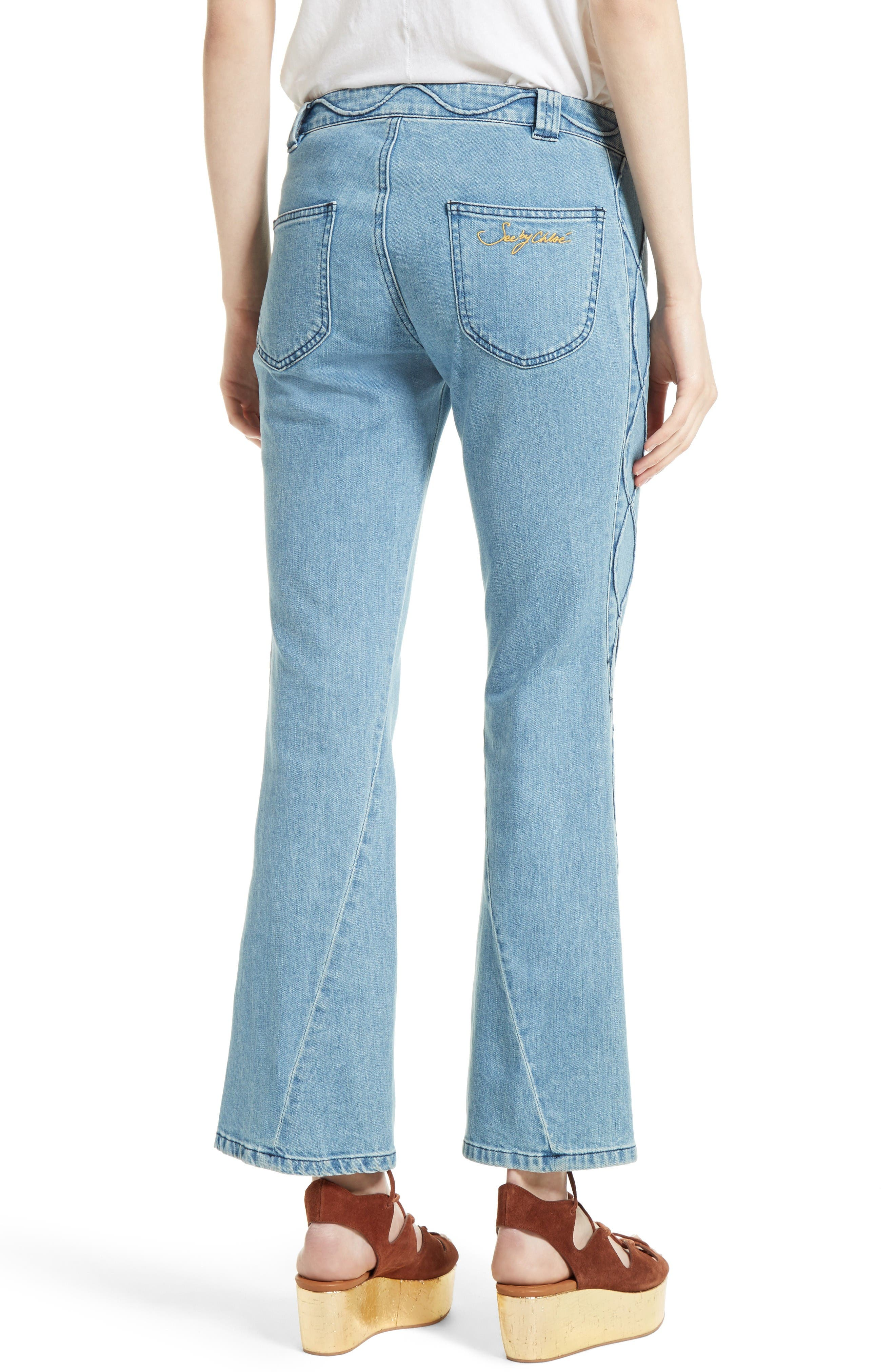 Alternate Image 2  - See by Chloé Iconic Ankle Flare Jeans (Stoned Indigo)