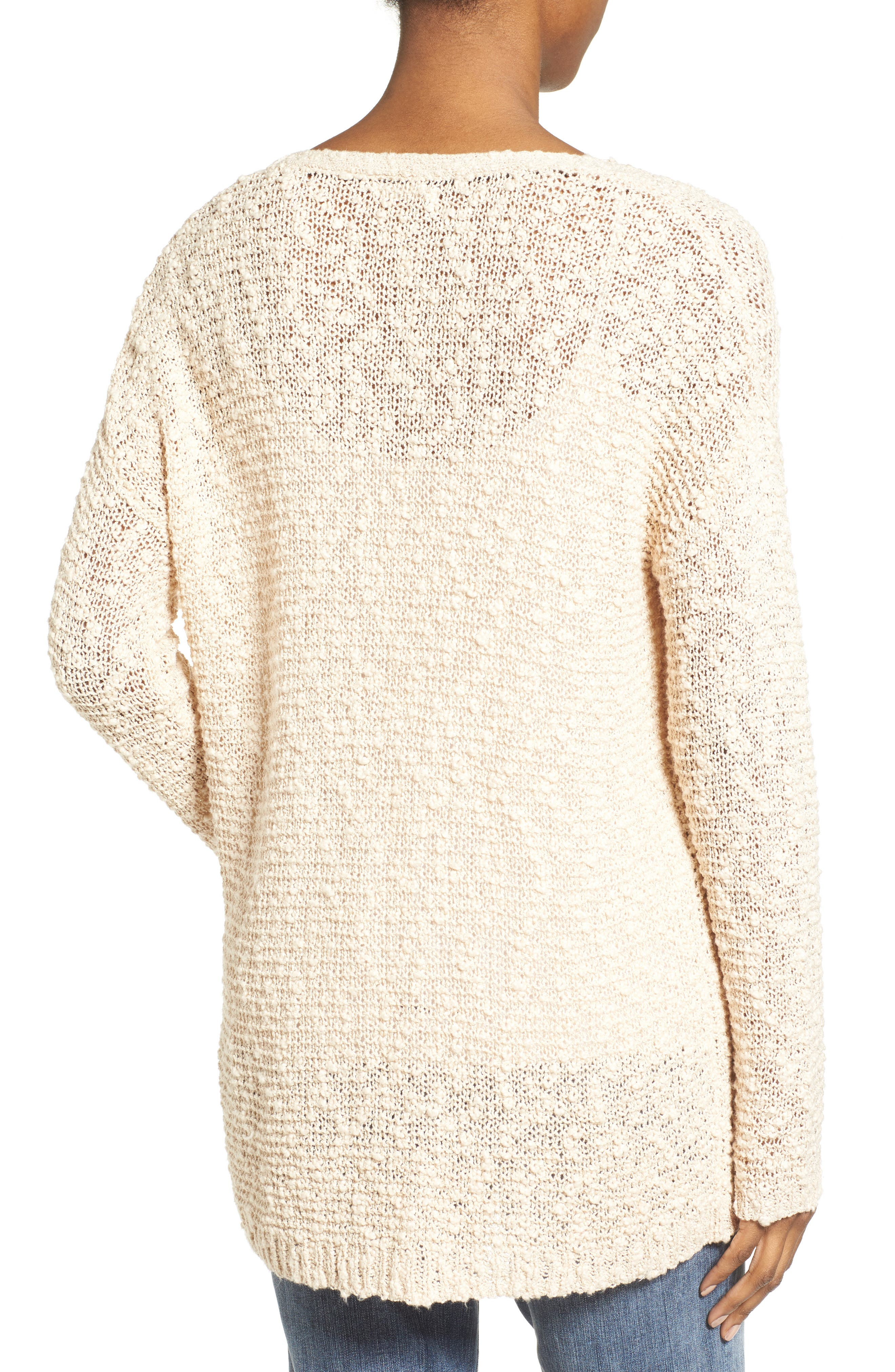 Open Stitch V-Neck Sweater,                             Alternate thumbnail 2, color,                             Beige Beach