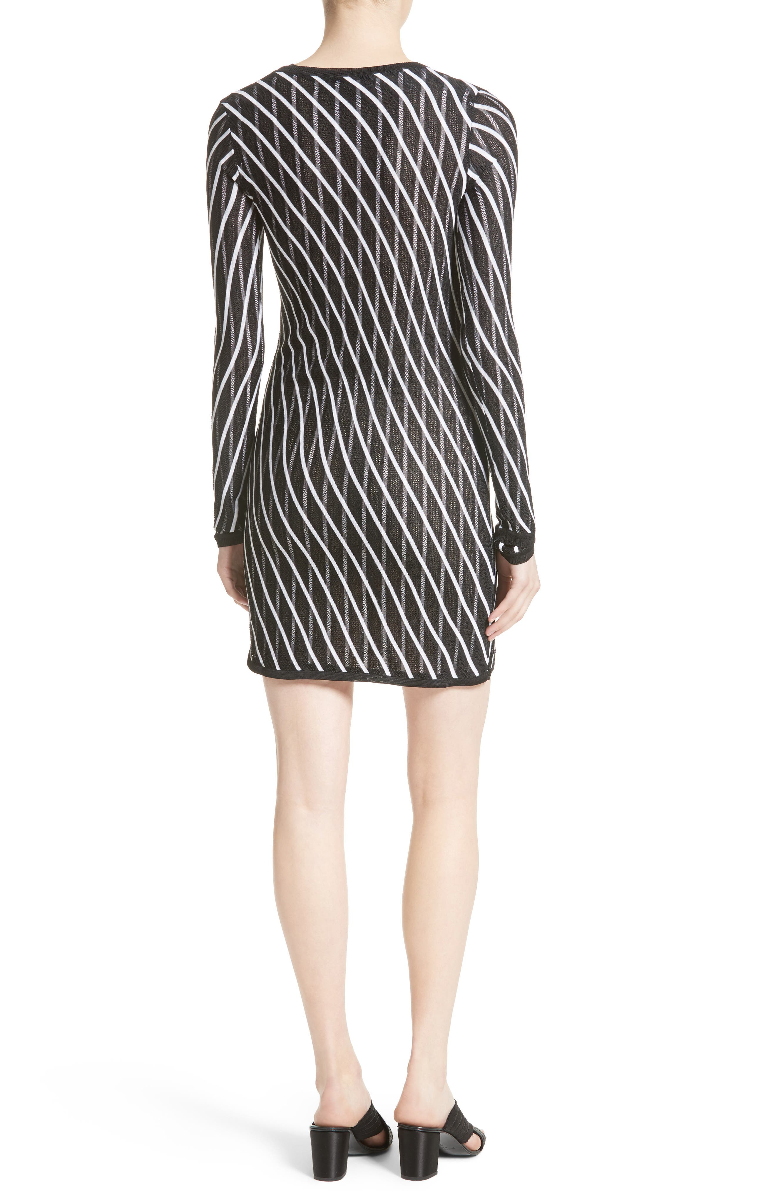 Double Layer Stripe Sweater Dress,                             Alternate thumbnail 2, color,                             Ivory/ Black