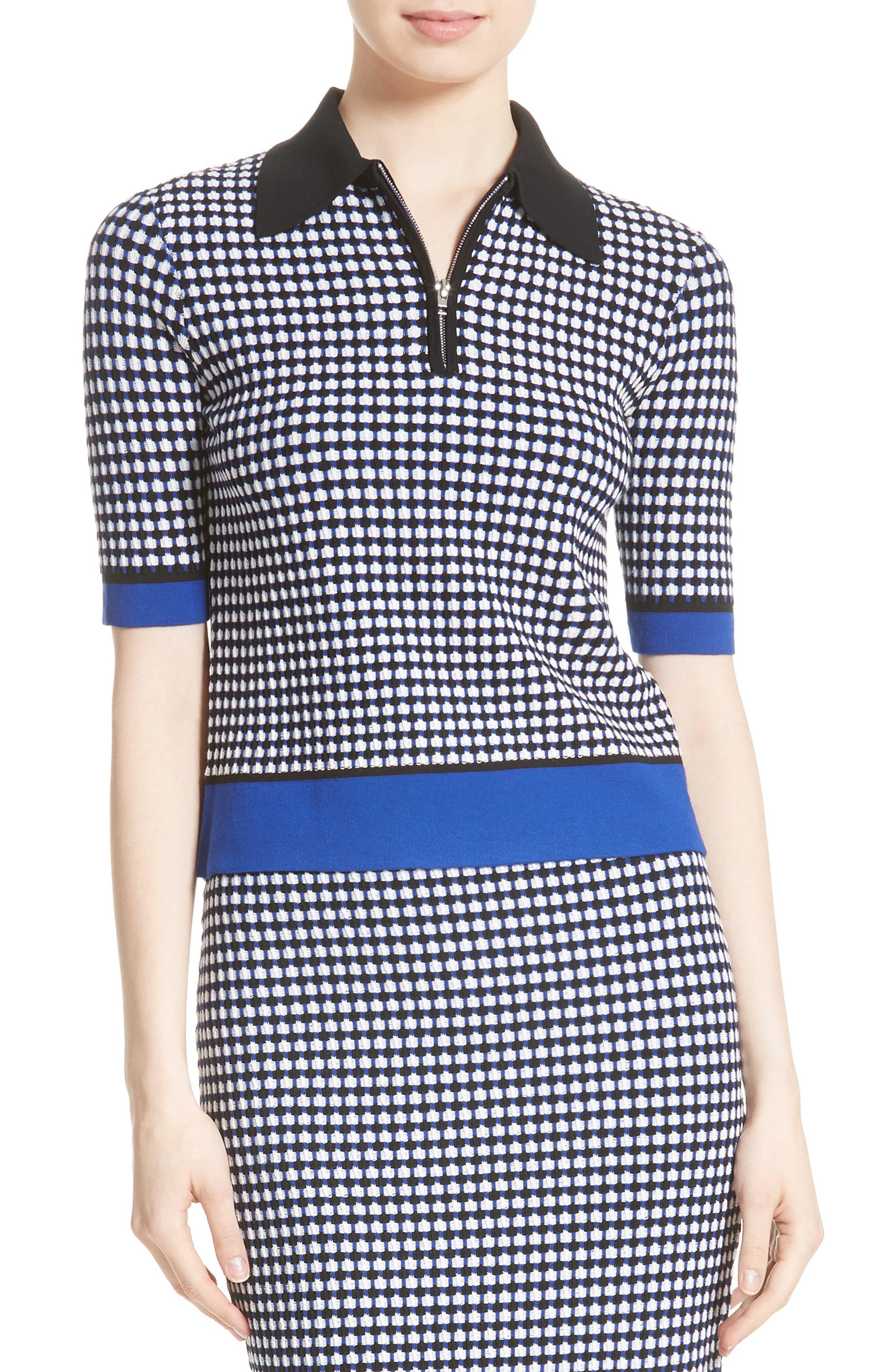 Diane von Furstenberg Spread Collar Knit Shirt