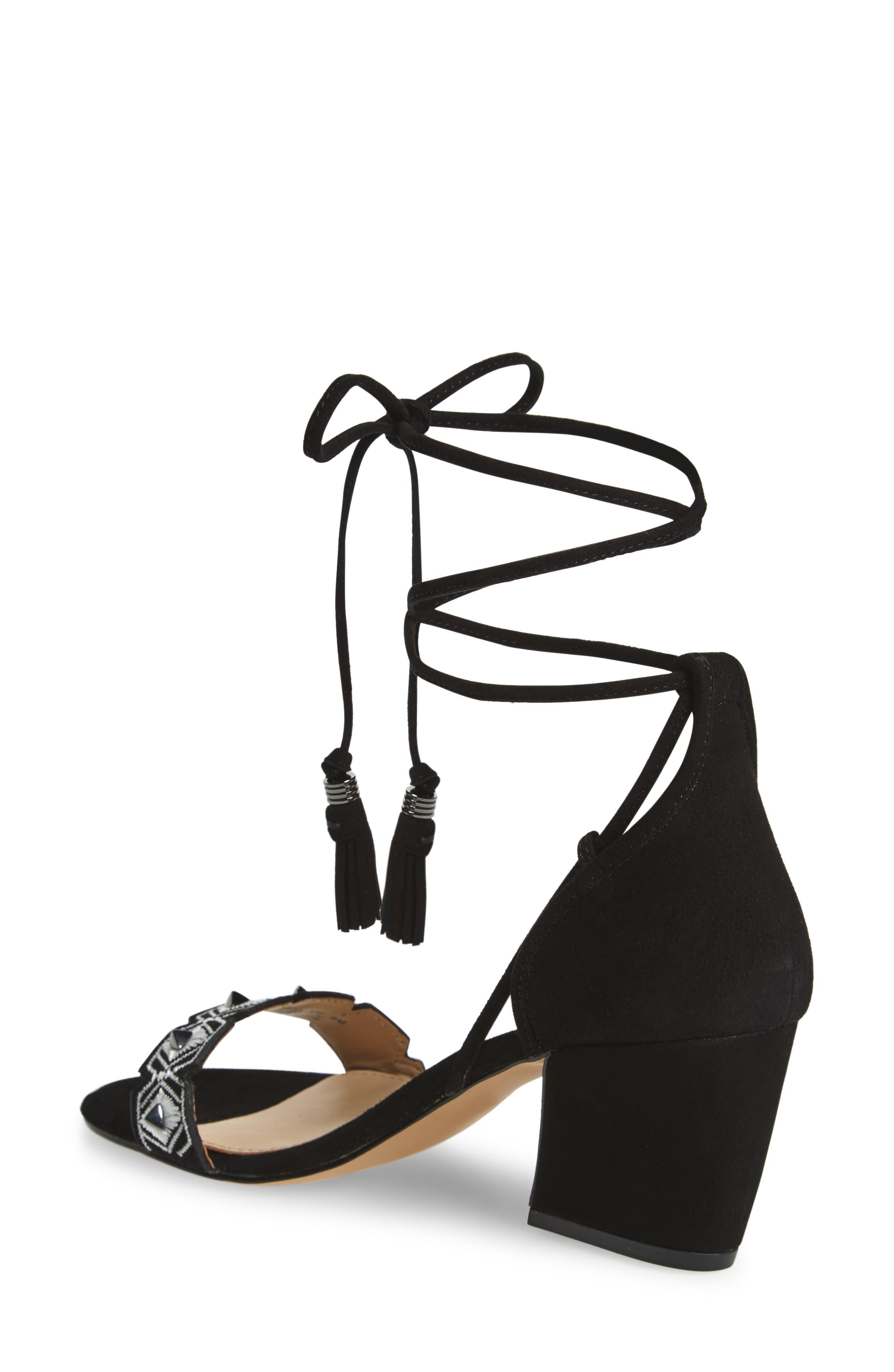 Penelope Embroidered Ankle Wrap Sandal,                             Alternate thumbnail 2, color,                             Black White Combo