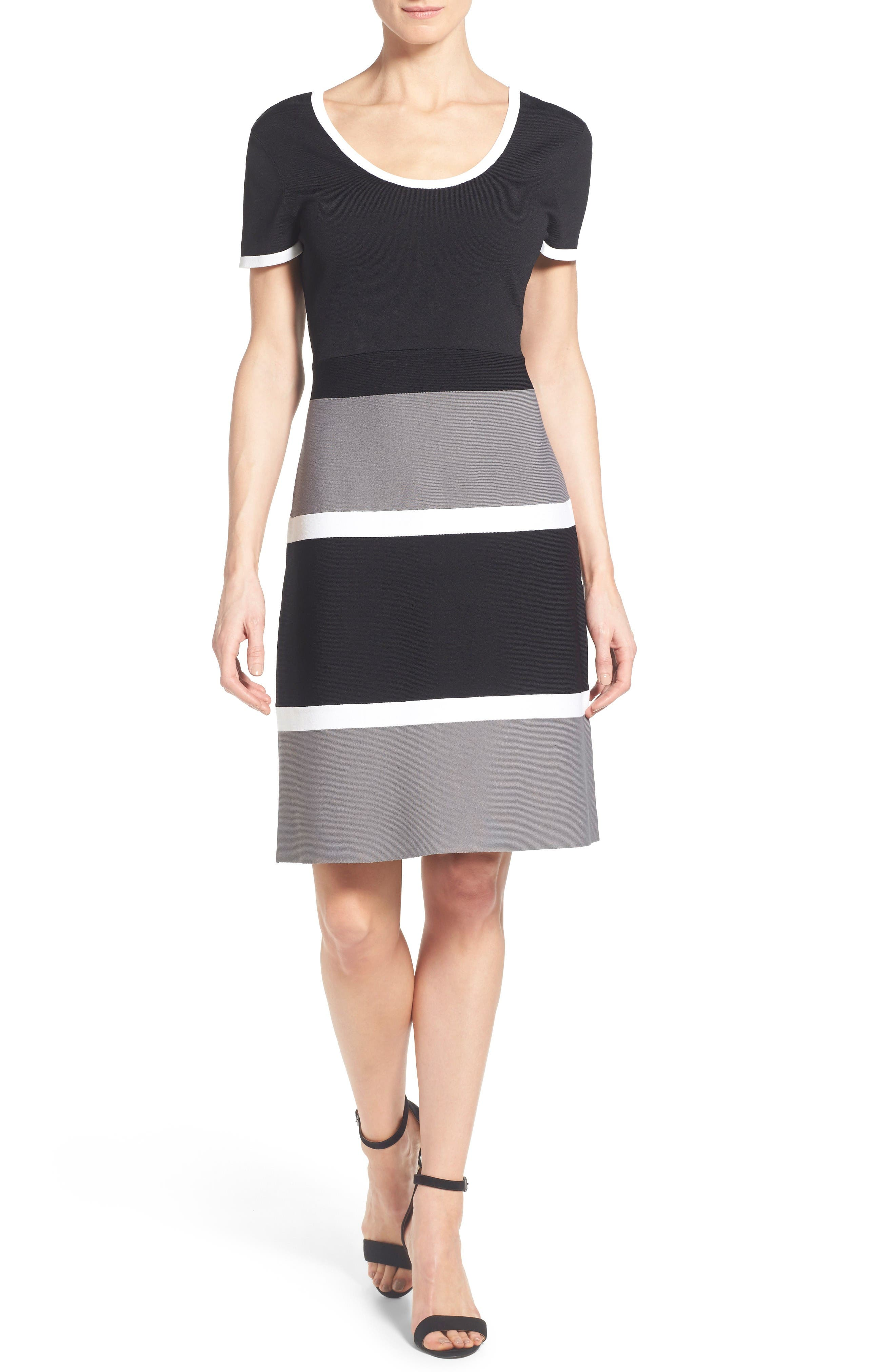 Colorblock A-Line Knit Dress,                             Main thumbnail 1, color,                             Gray Combo