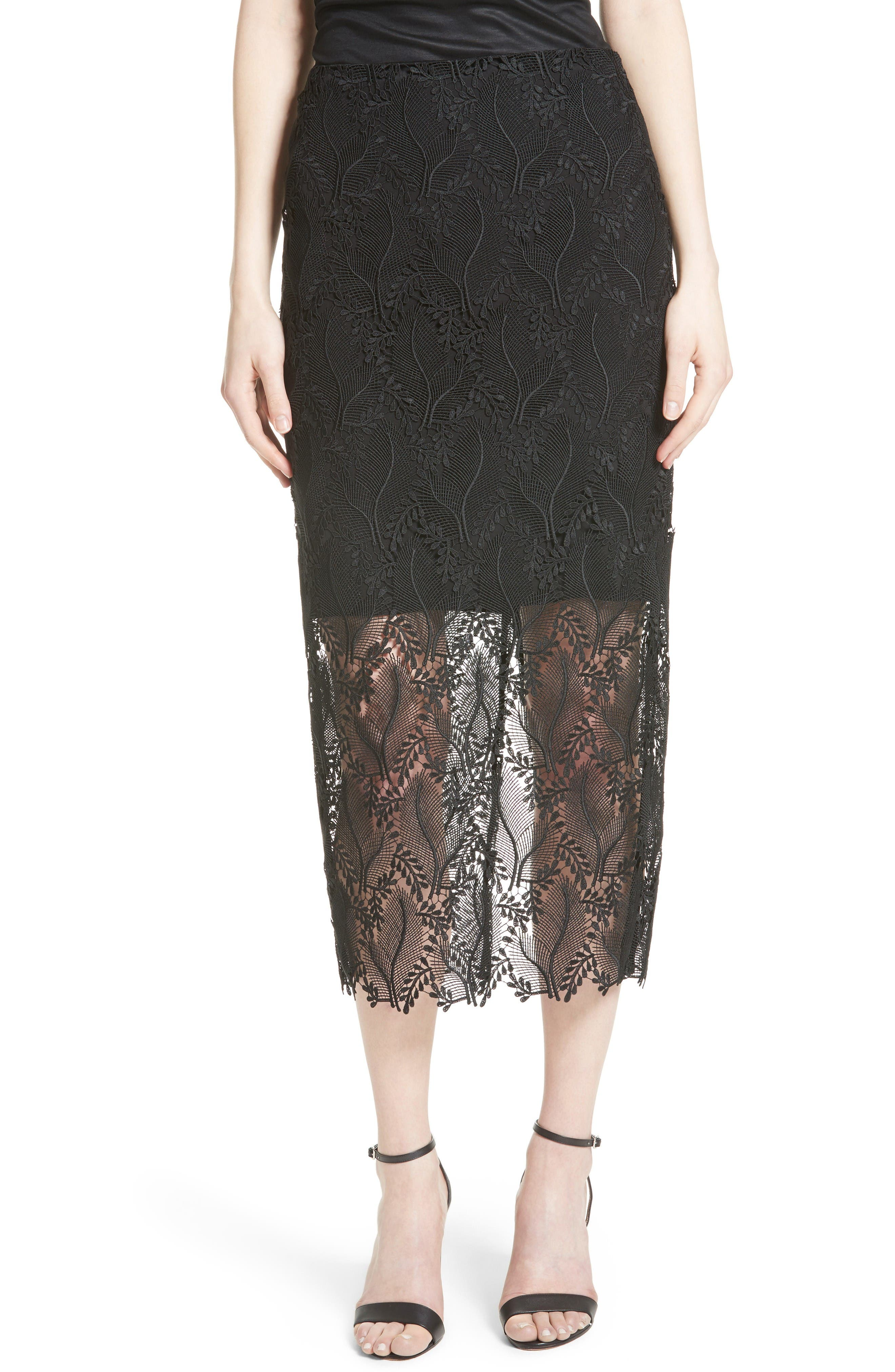 Lace Overlay Pencil Skirt,                         Main,                         color, Black