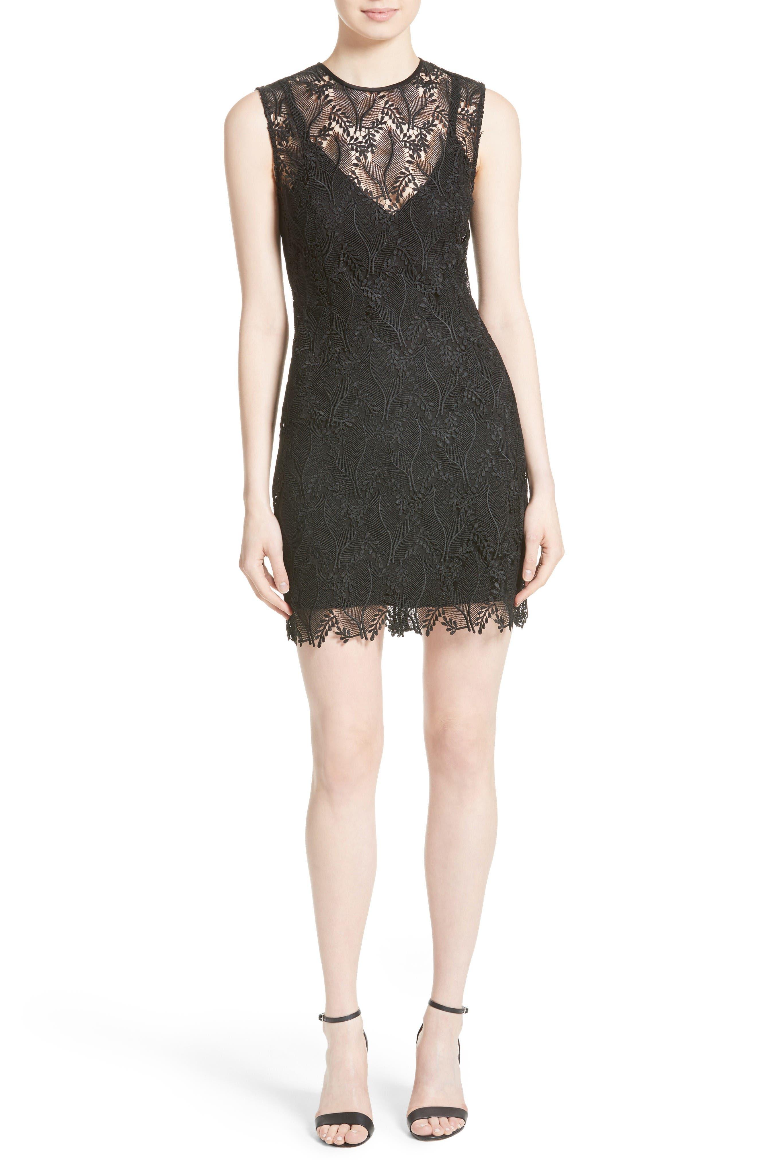 Lace Overlay Mindress,                         Main,                         color, Black/ Black