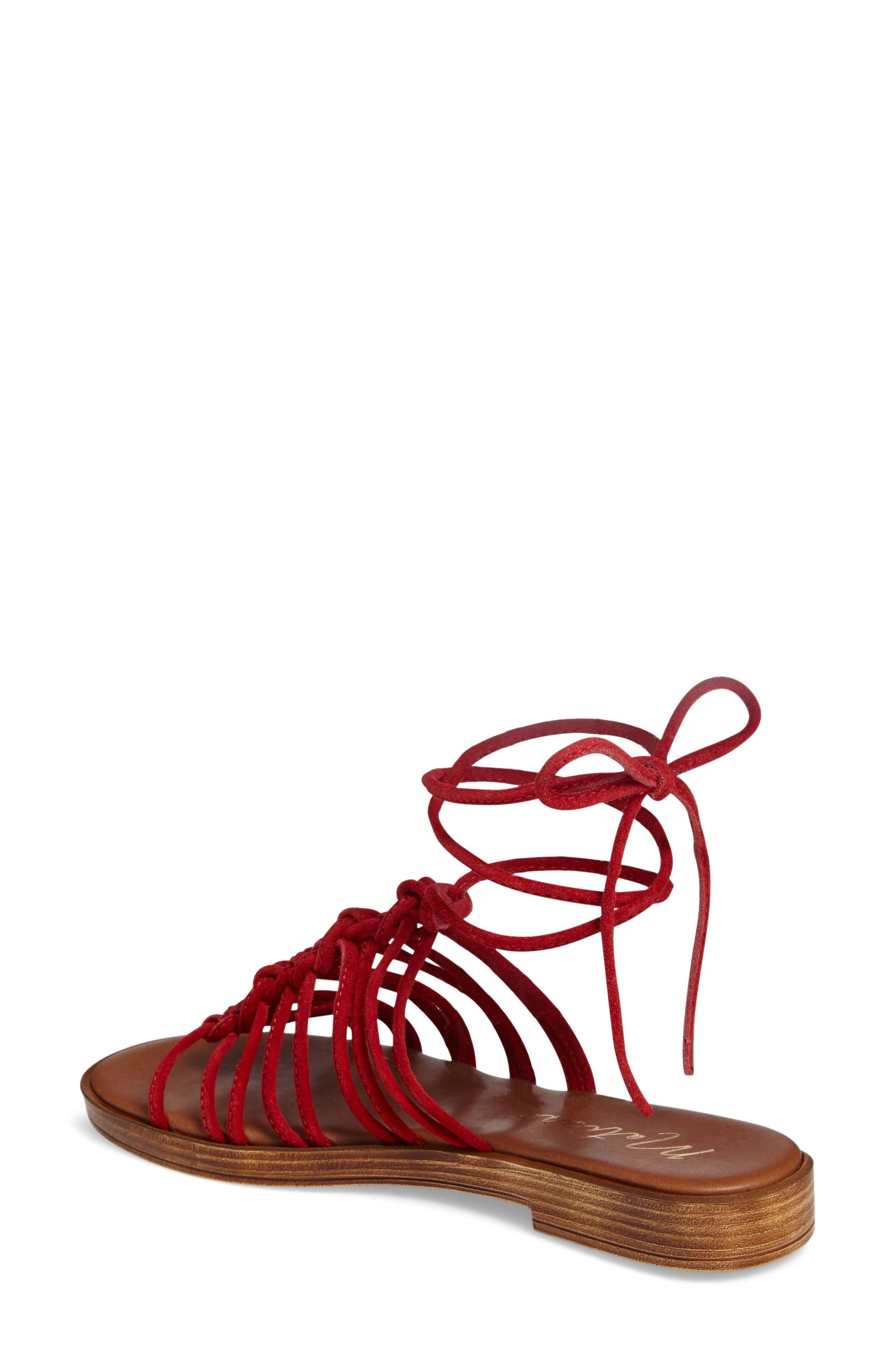 Origin Lace-Up Sandal,                             Alternate thumbnail 2, color,                             Red Suede