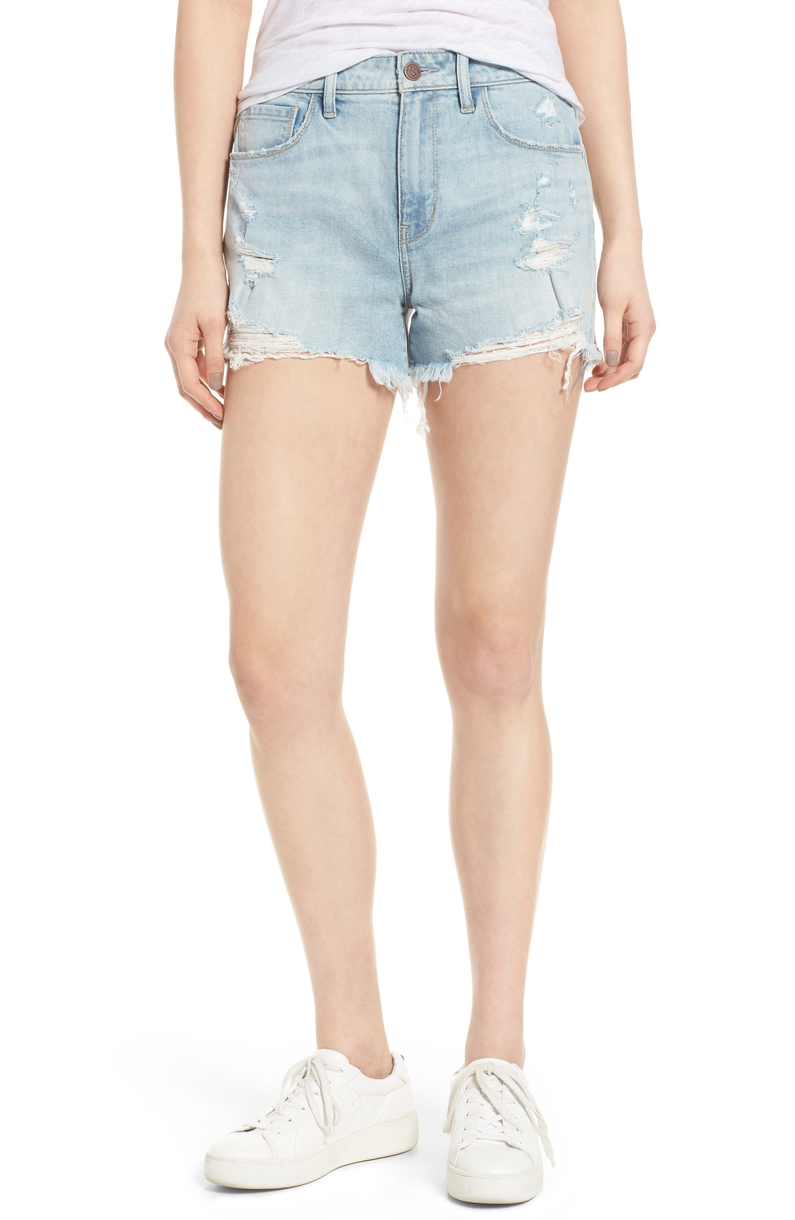 High Waist Boyfriend Cutoff Shorts,                         Main,                         color, Gravel Light Destroy