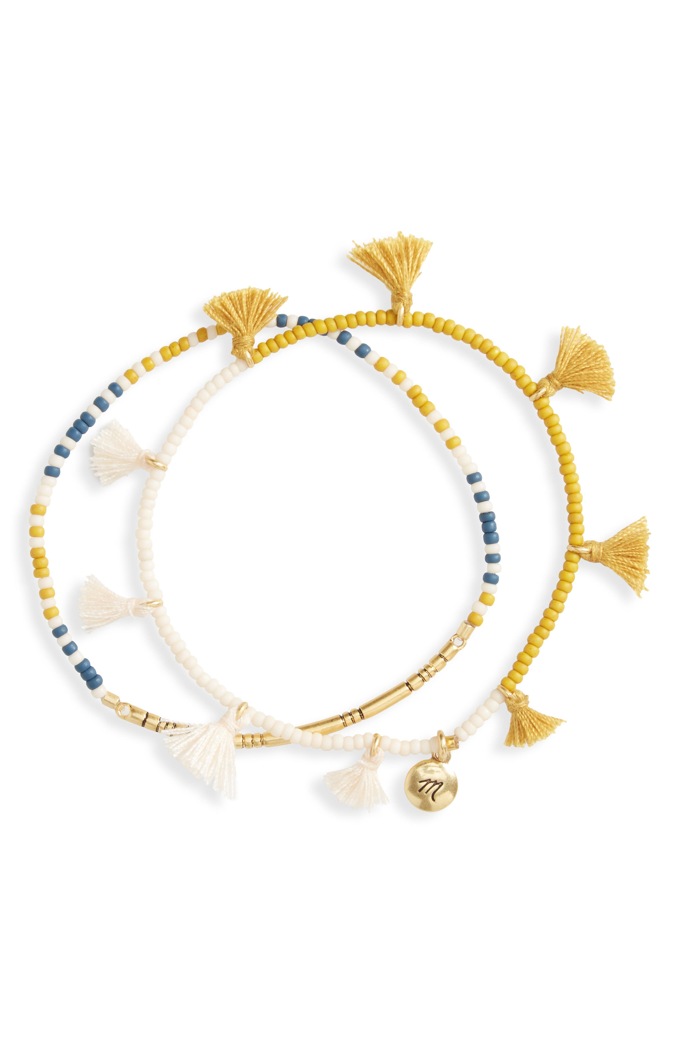 Alternate Image 1 Selected - Madewell Set of 2 Tassel Stretch Bracelets