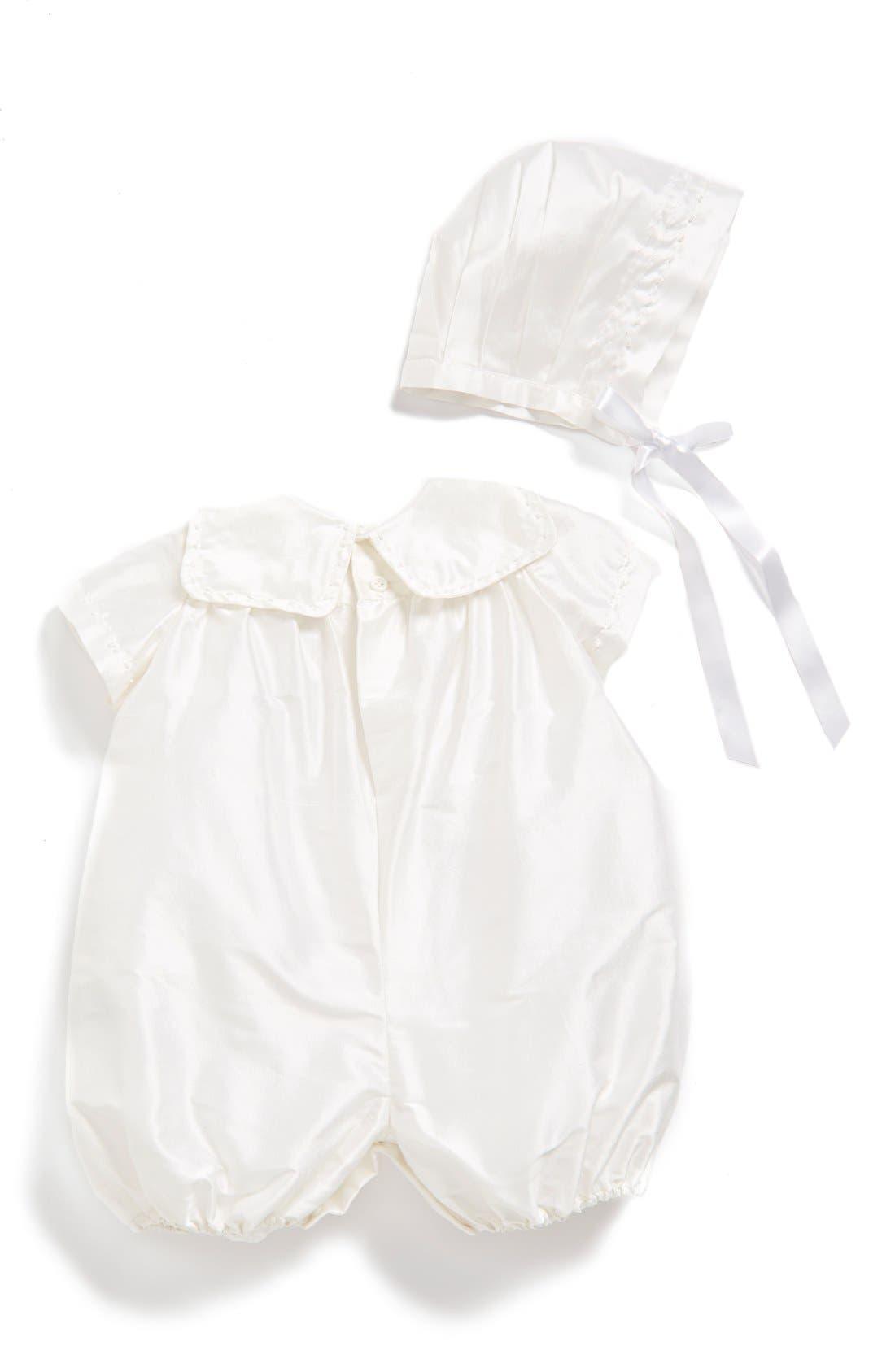 'Charming' Silk Romper & Bonnet,                             Alternate thumbnail 2, color,                             White