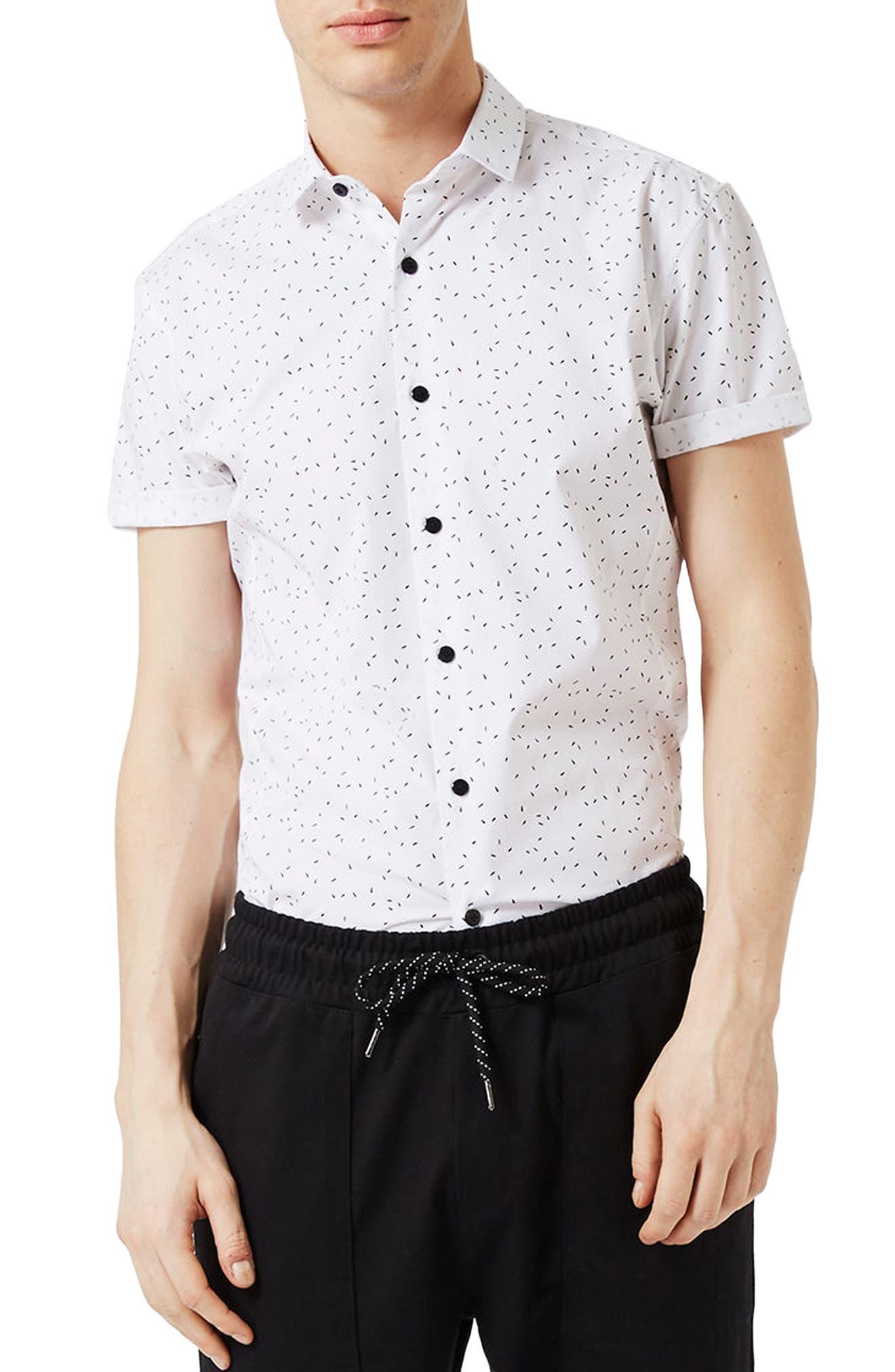 Topman Slim Fit Confetti Print Shirt