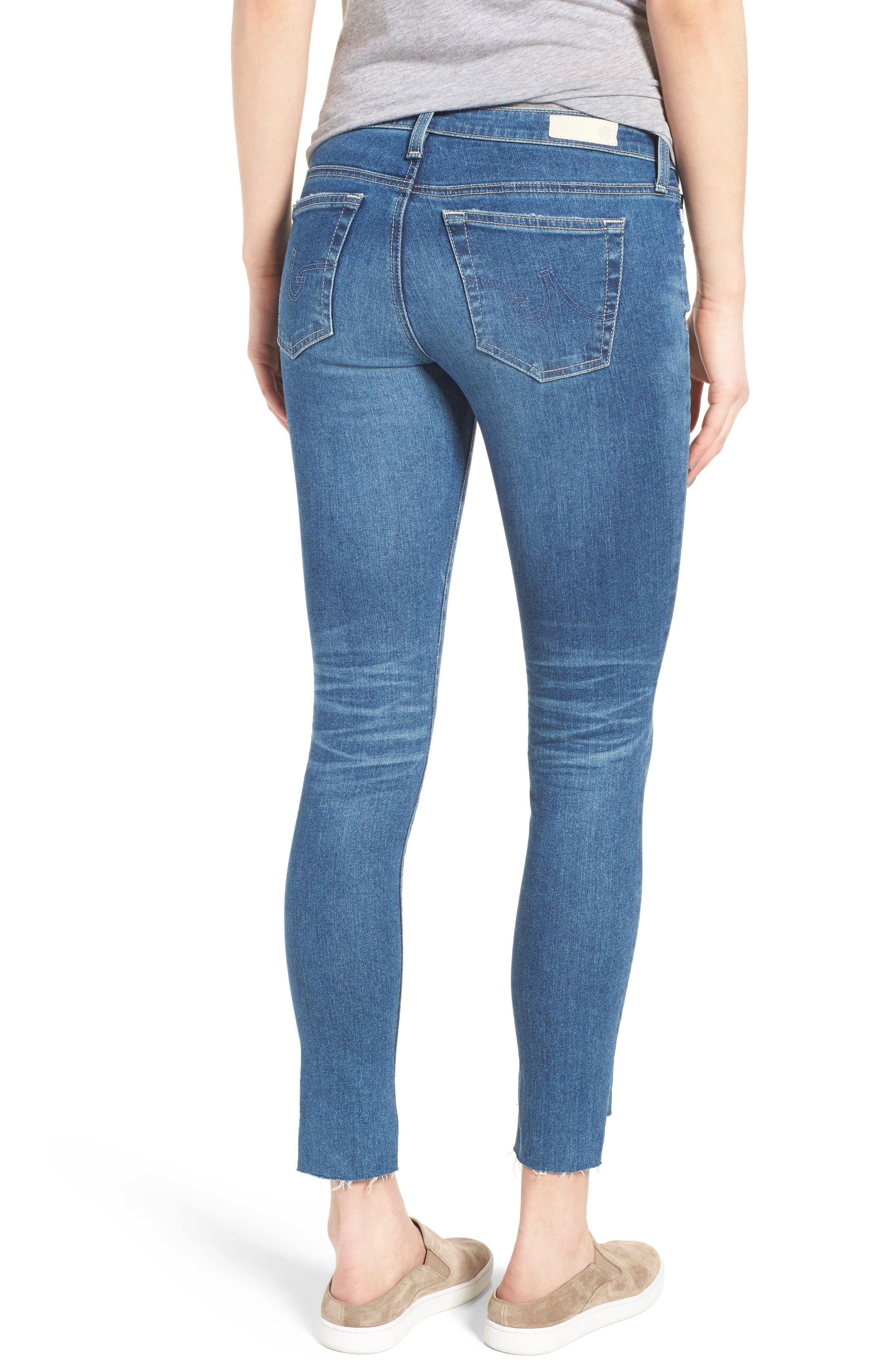 The Legging Step Hem Ankle Skinny Jeans,                             Alternate thumbnail 2, color,                             Radiant Blue