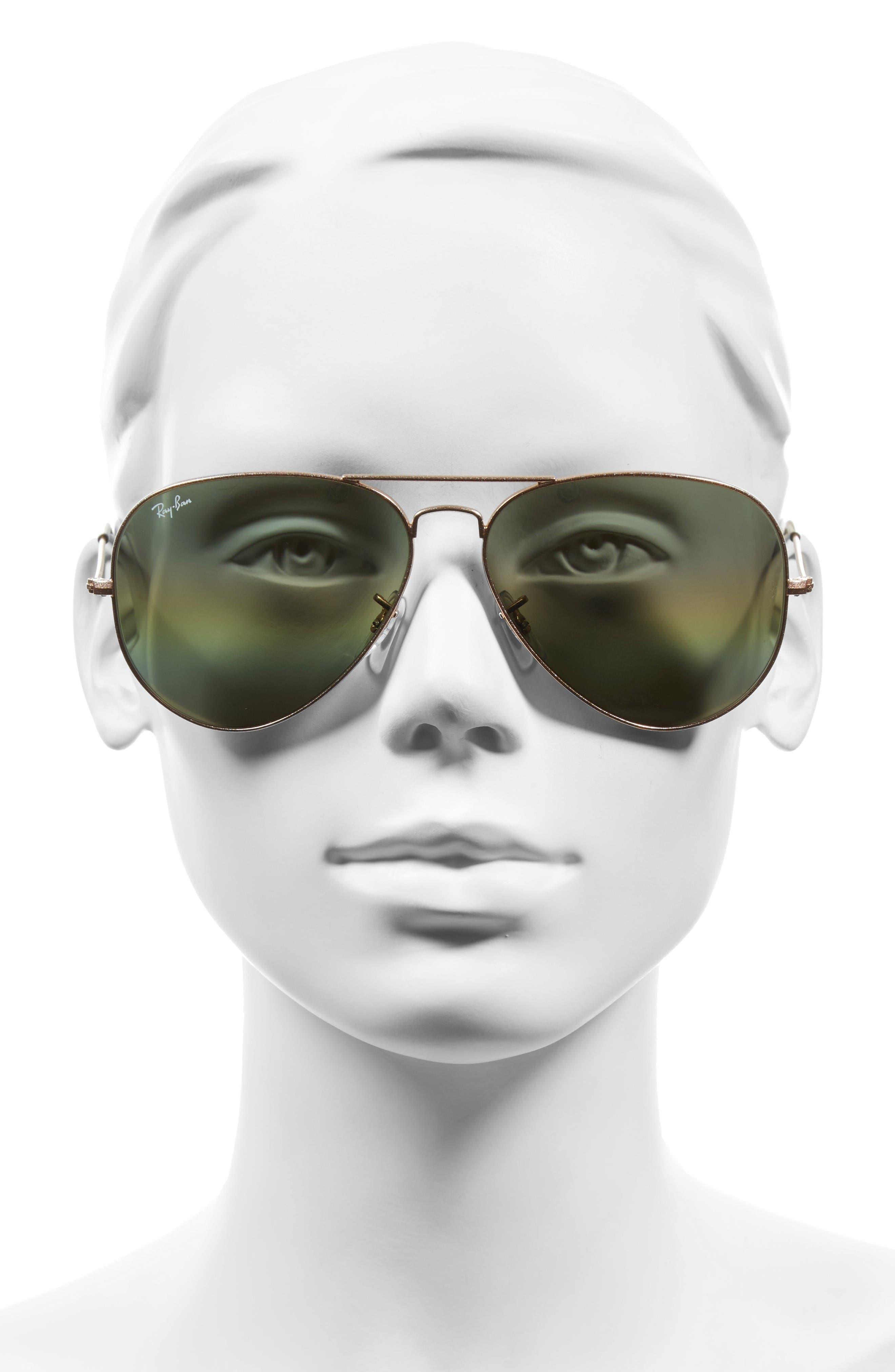 Large Icons 62mm Aviator Sunglasses,                             Alternate thumbnail 2, color,                             Yellow Multi Rainbow