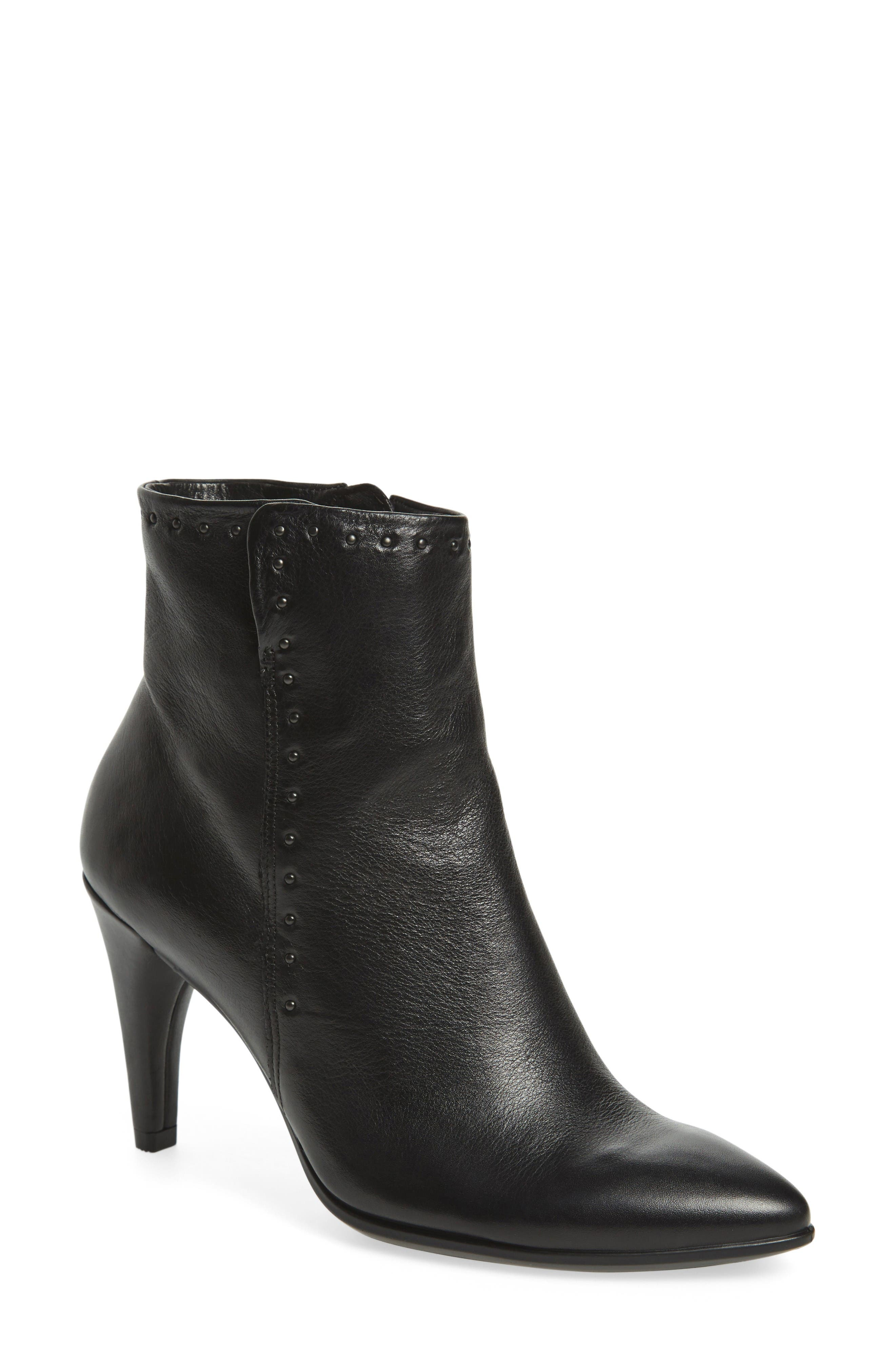 Shape 75 Rivet Ankle Boot,                             Main thumbnail 1, color,                             Black Leather