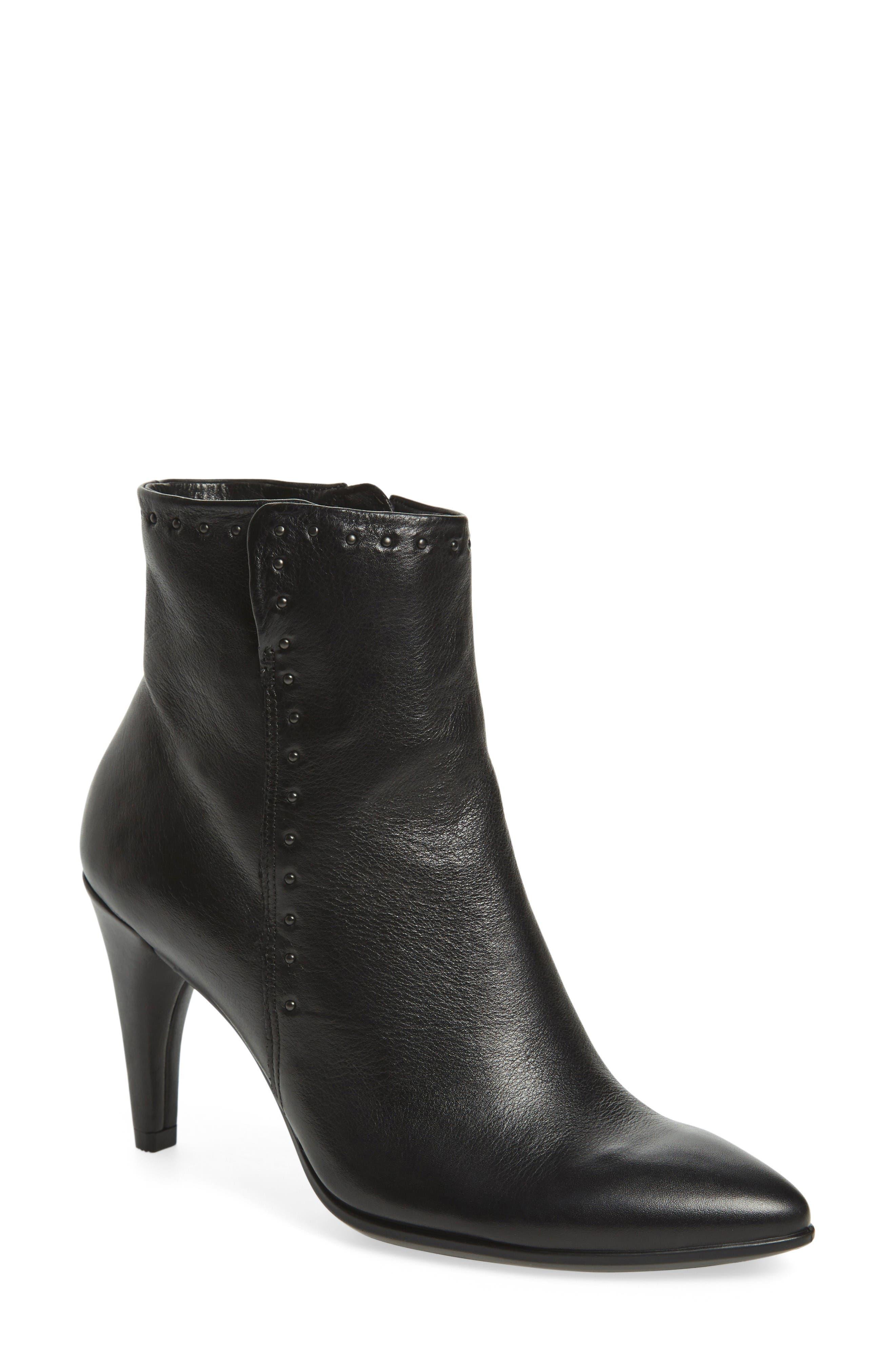 Shape 75 Rivet Ankle Boot,                         Main,                         color, Black Leather