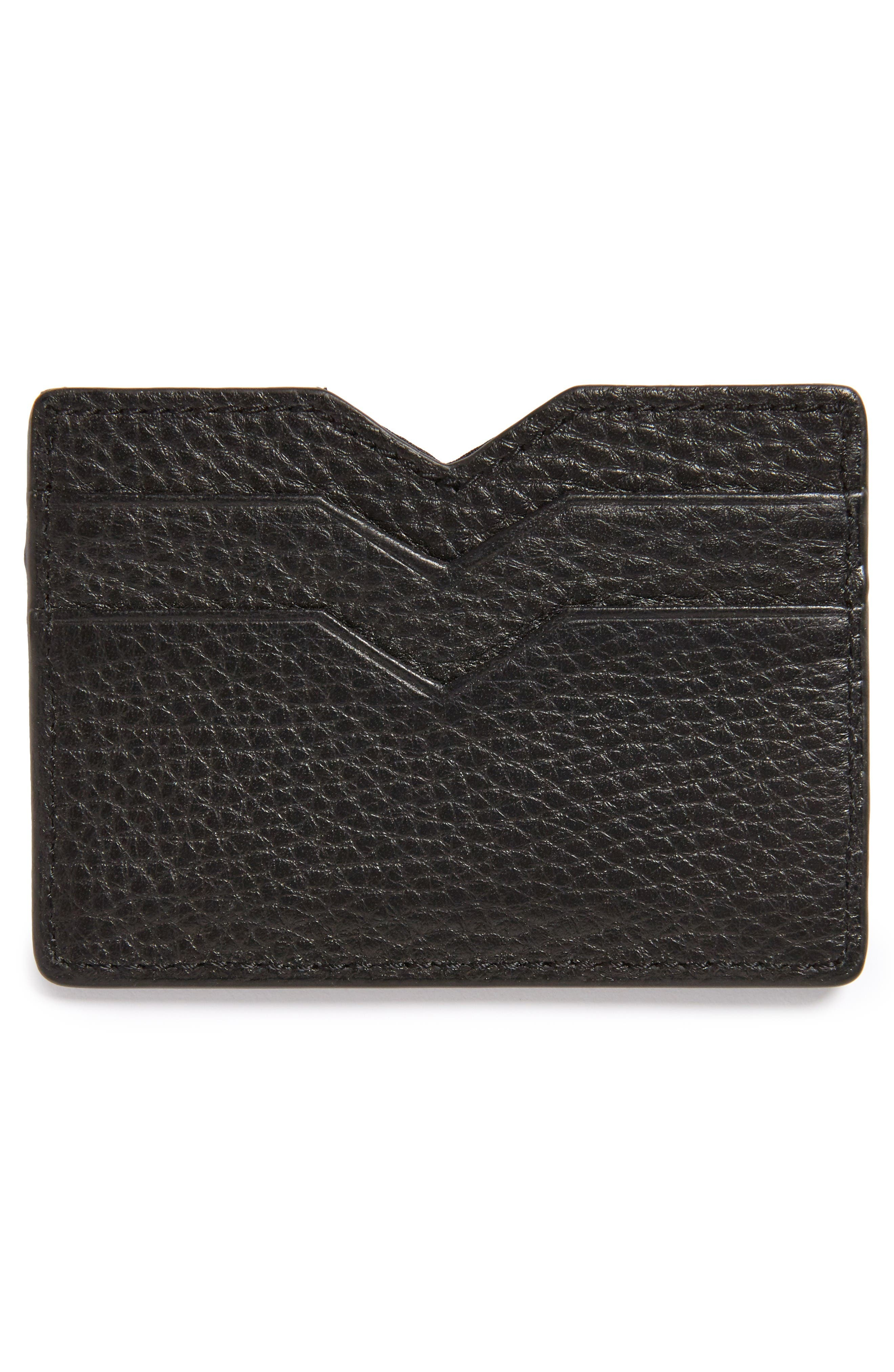 Wes Leather Card Case,                             Alternate thumbnail 2, color,                             Black